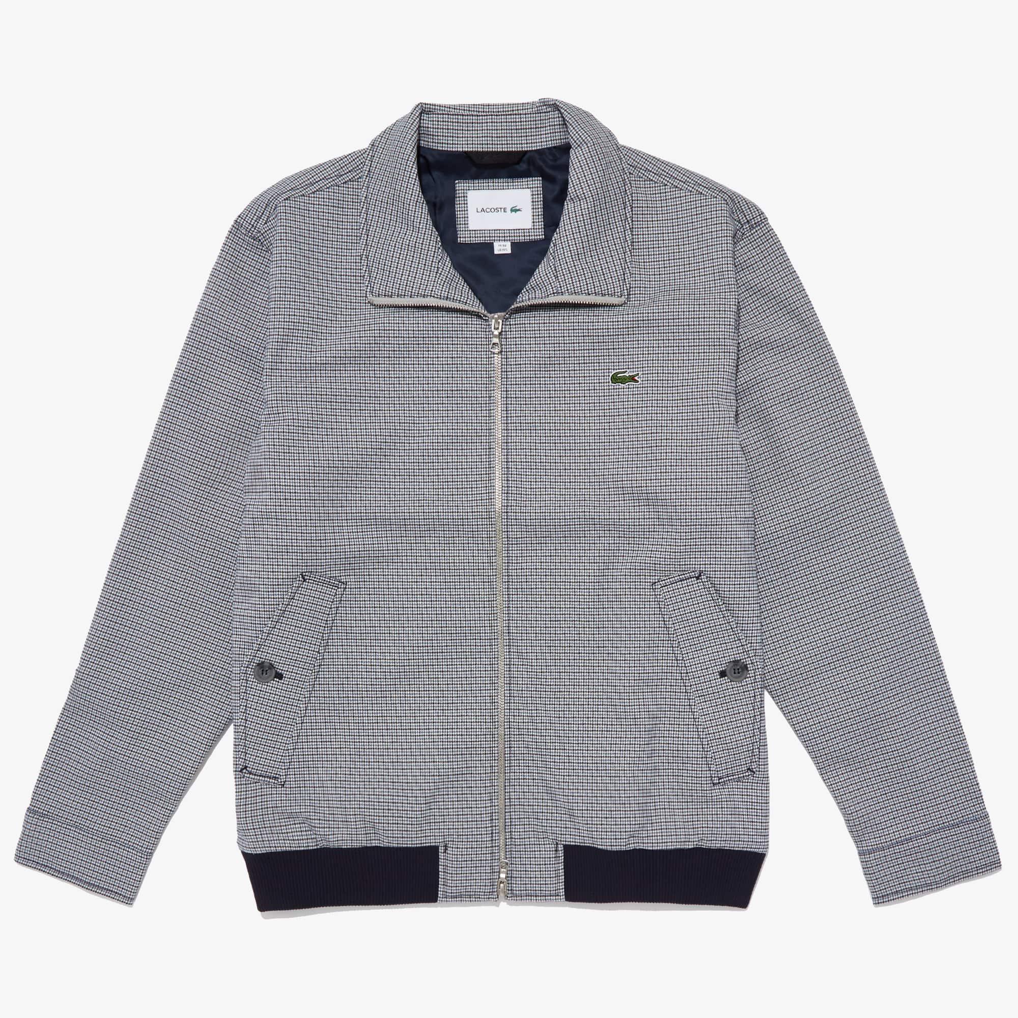 Lacoste Jackets Men's Herringbone Pattern Zip Harrington Jacket
