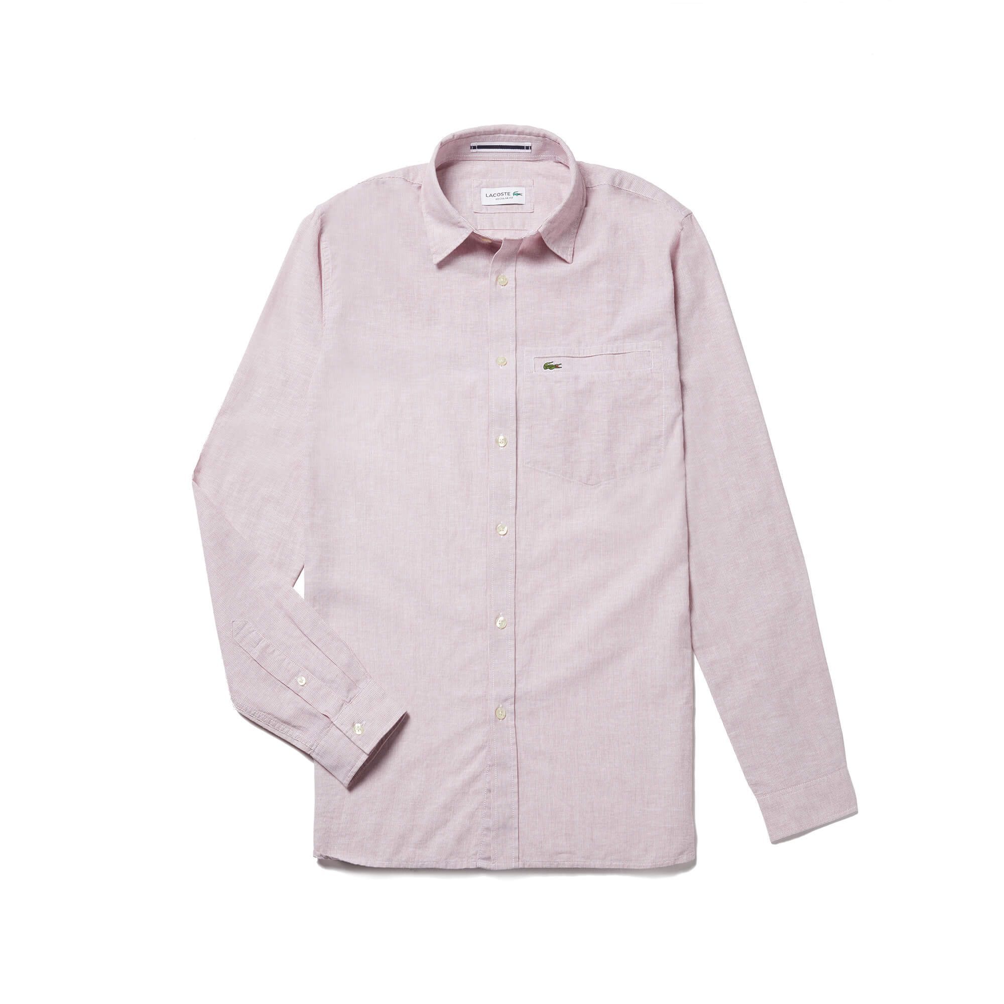 Men's Regular Fit Striped Cotton Poplin And Linen Shirt