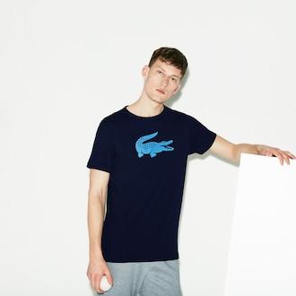 라코스테 Lacoste Mens SPORT Technical Jersey Tennis T-Shirt,Navy Blue / Blue - 6WF