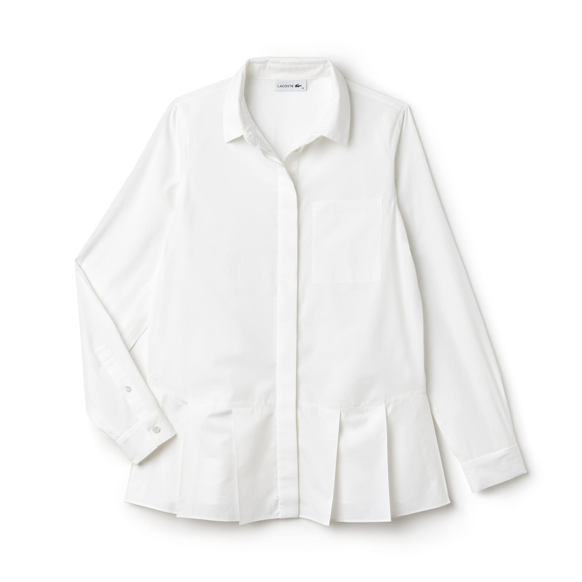 Women's Pleated Panel Silk And Cotton Voile Shirt