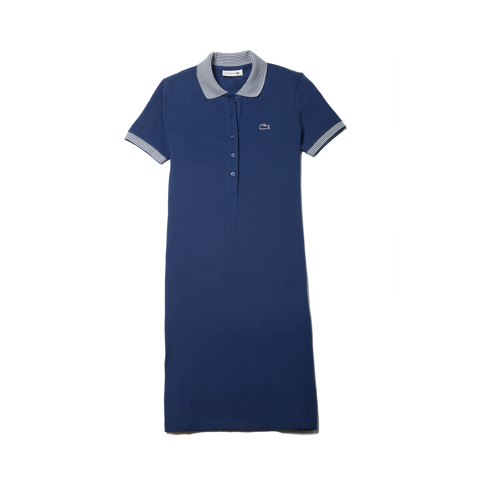 Women's Stretch Mini Cotton Piqué And Contrast Accents Polo Dress