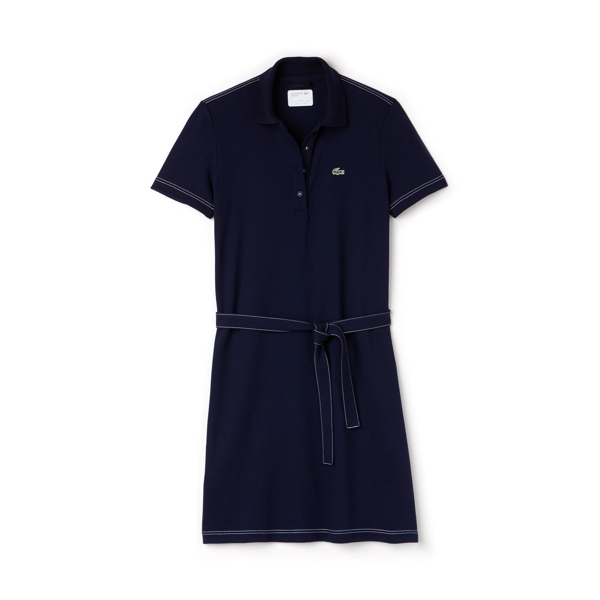 라코스테 Lacoste Womens SPORT Belted Mini Pique Golf Polo Dress,NAVY BLUE/WHITE