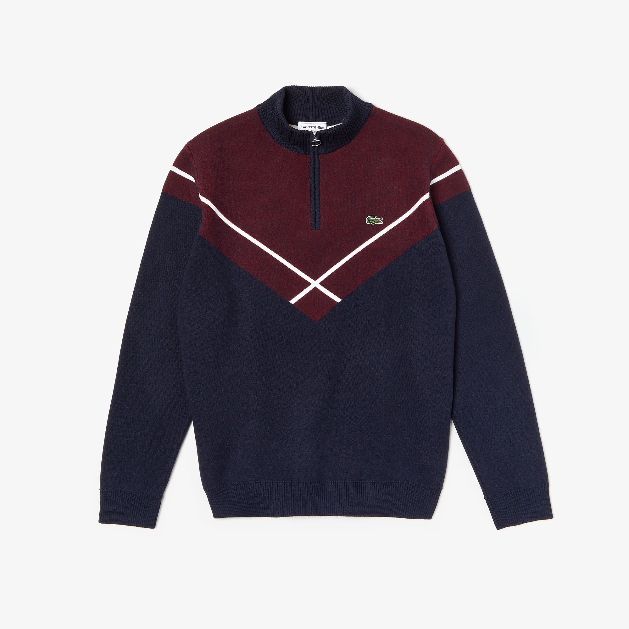 Men's Made In France Zip-Collar Jacquard Sweater