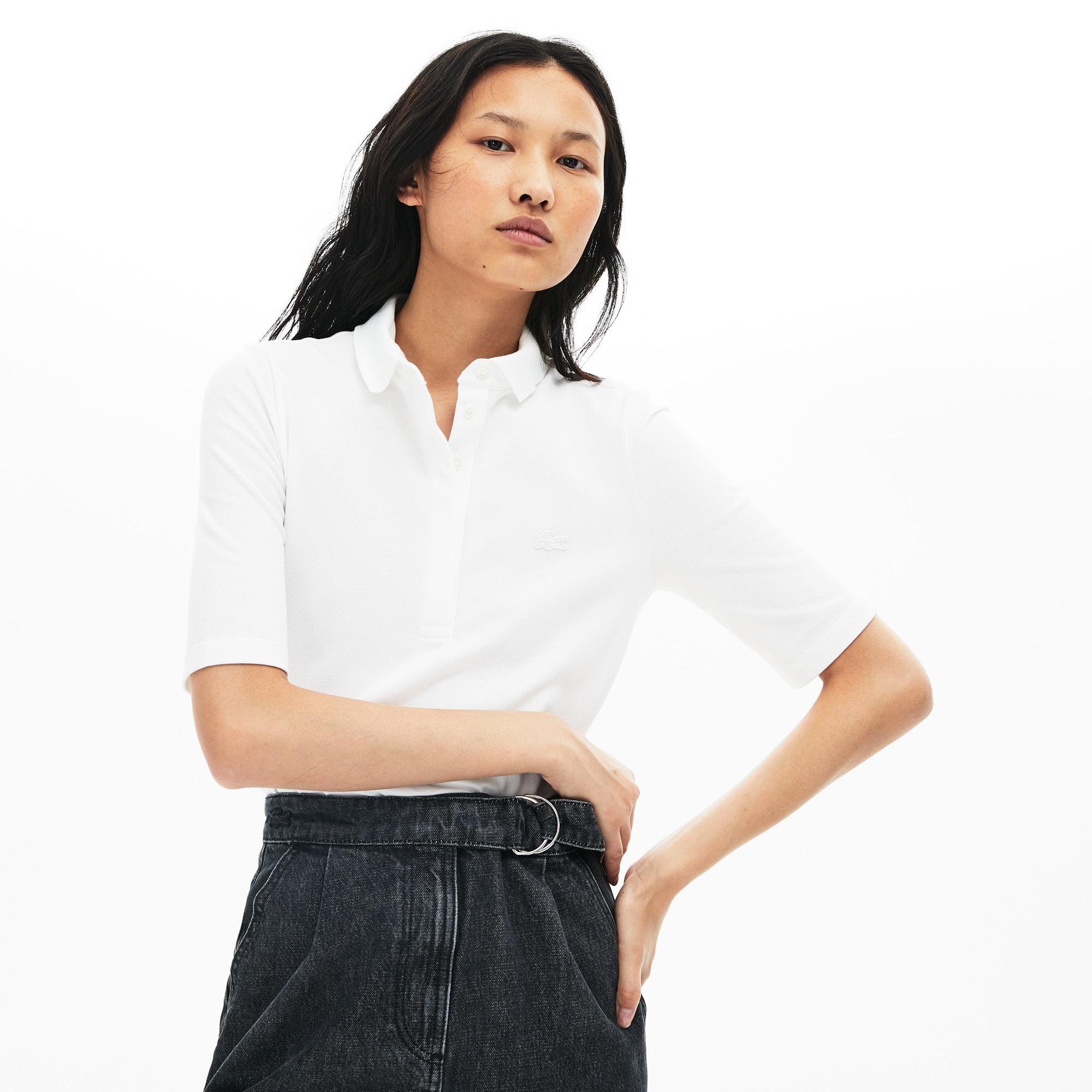 Womens Lacoste Slim Fit Stretch Mini Pique Polo Shirt