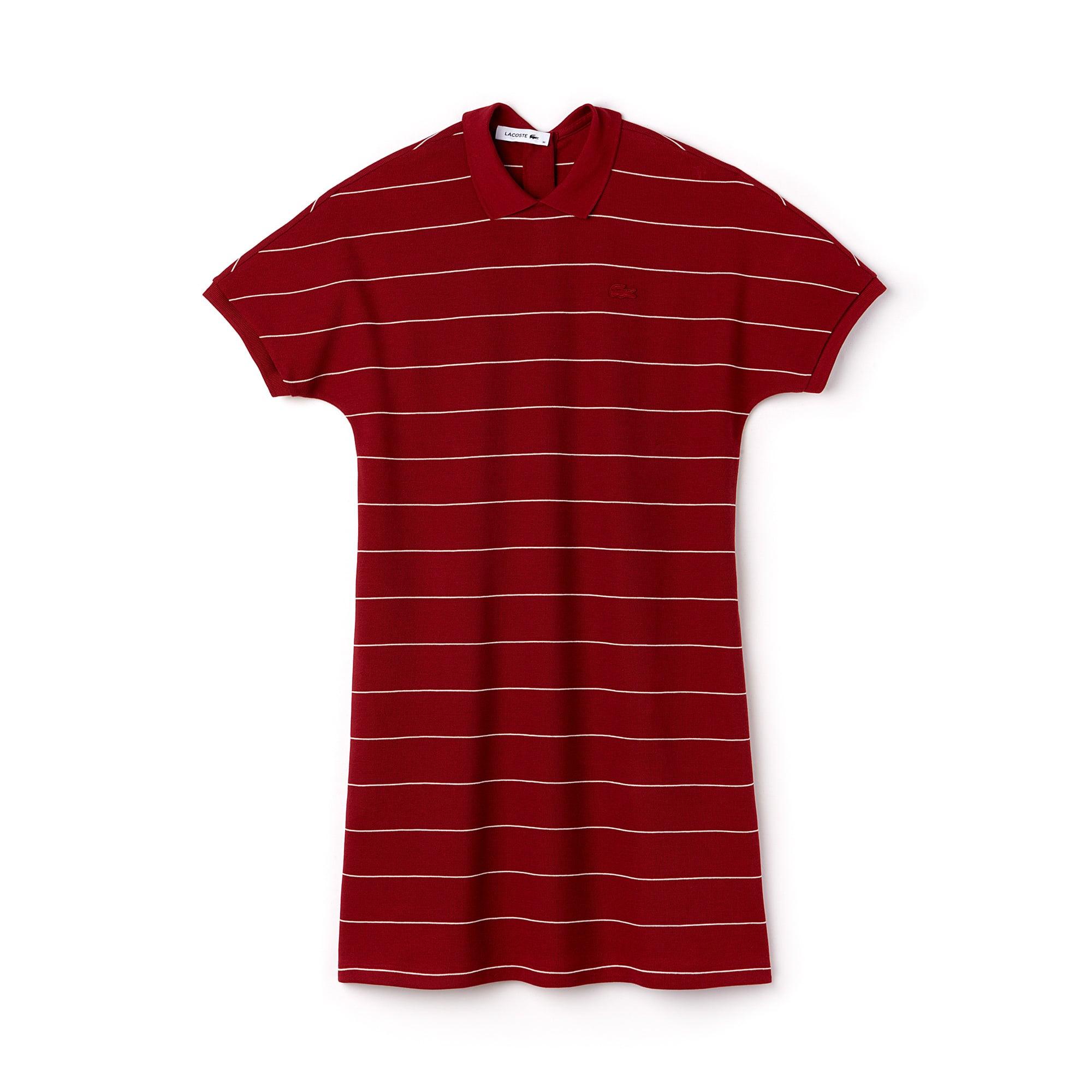 Women's Striped Honeycomb Cotton Polo Dress