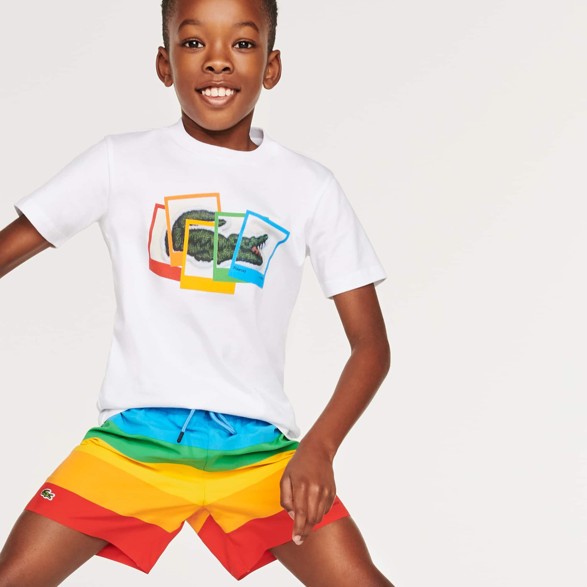 라코스테 X 폴라로이드 콜라보 키즈 티셔츠 Boys' Lacoste x Polaroid Print Cotton T-shirt, White