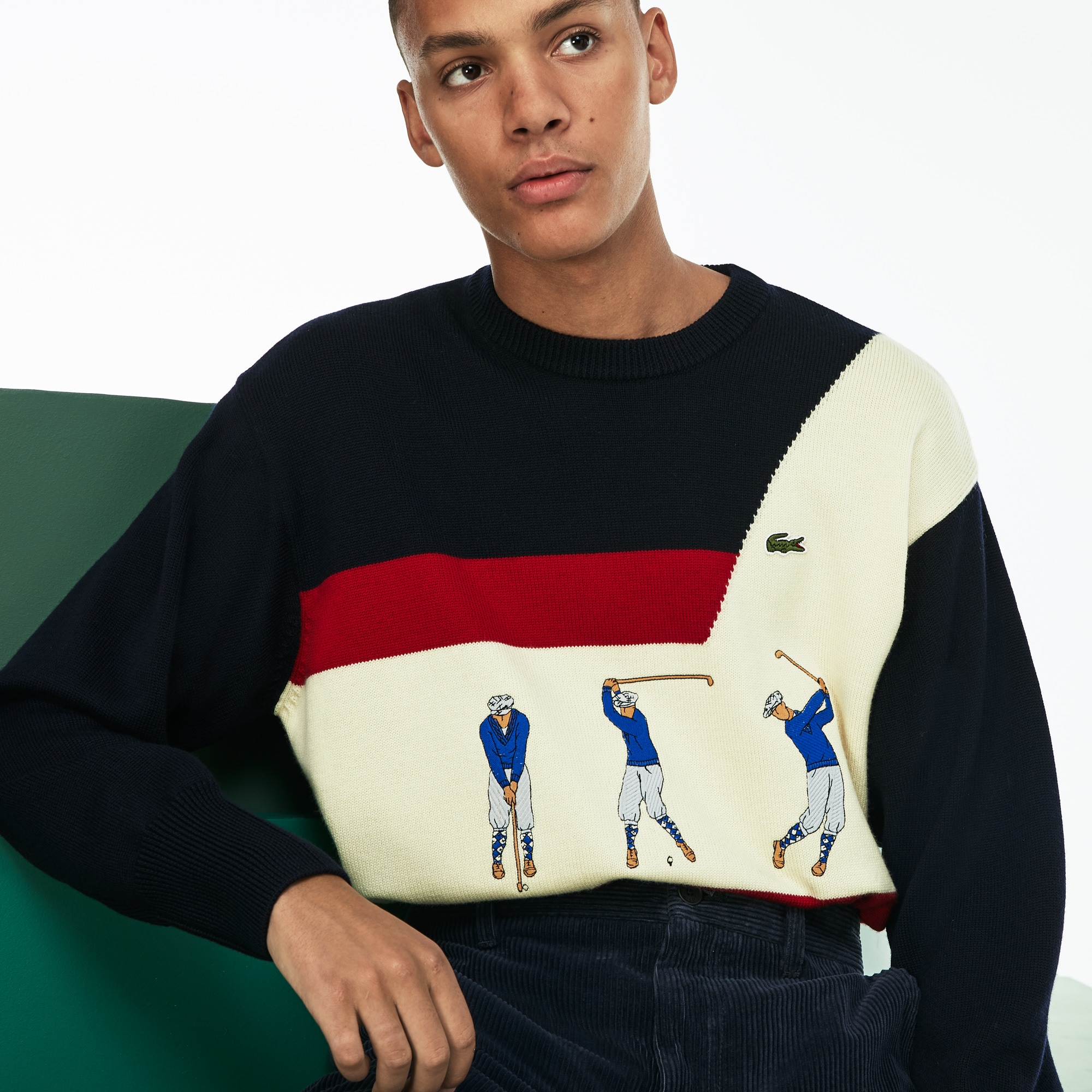 Men's Fashion Show Crew Neck Embroidered Wool Knit Sweater