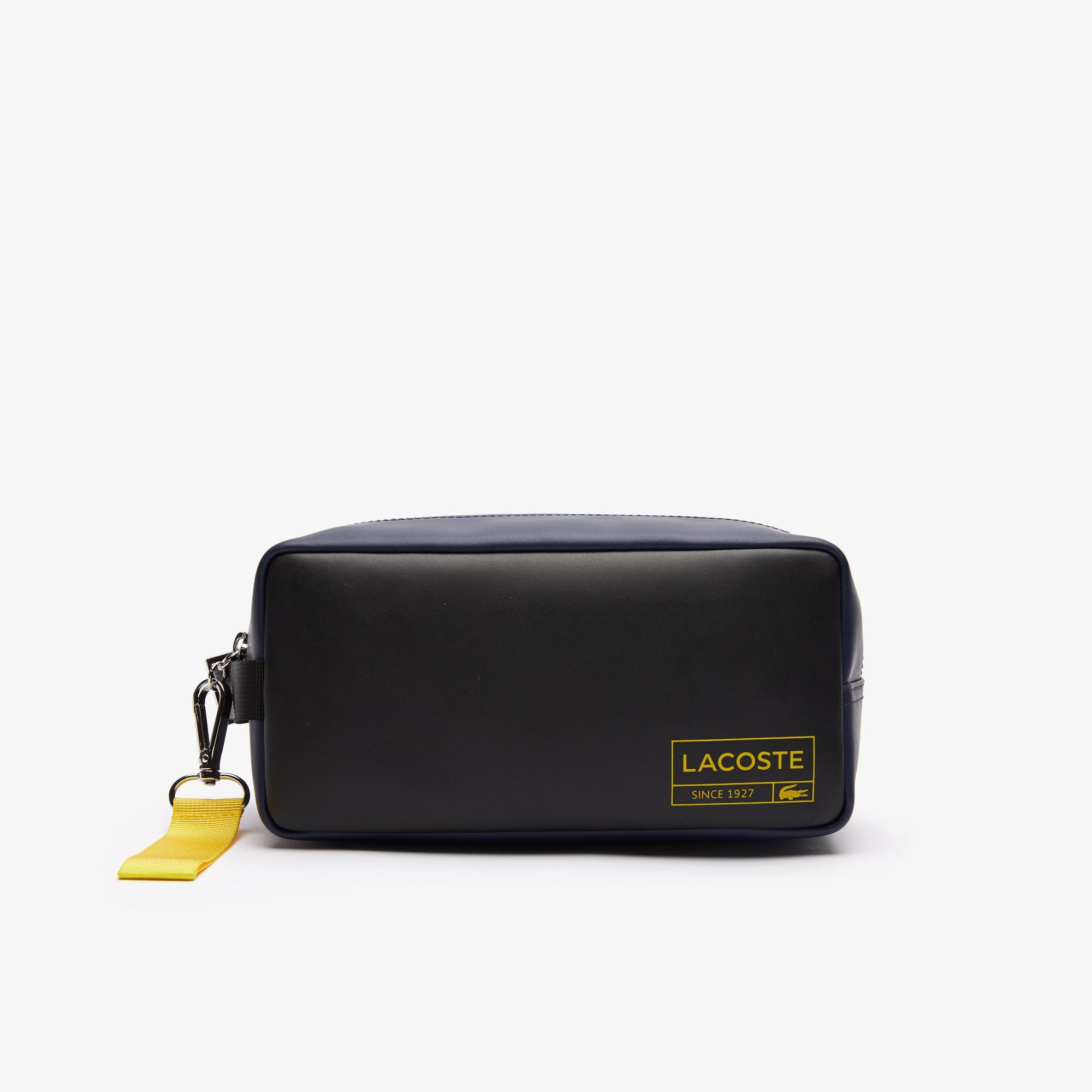 라코스테 Lacoste Men's Lettered Smooth Leather Toiletry Kit,NOIR MARINE 166 ANTHEMIS G73