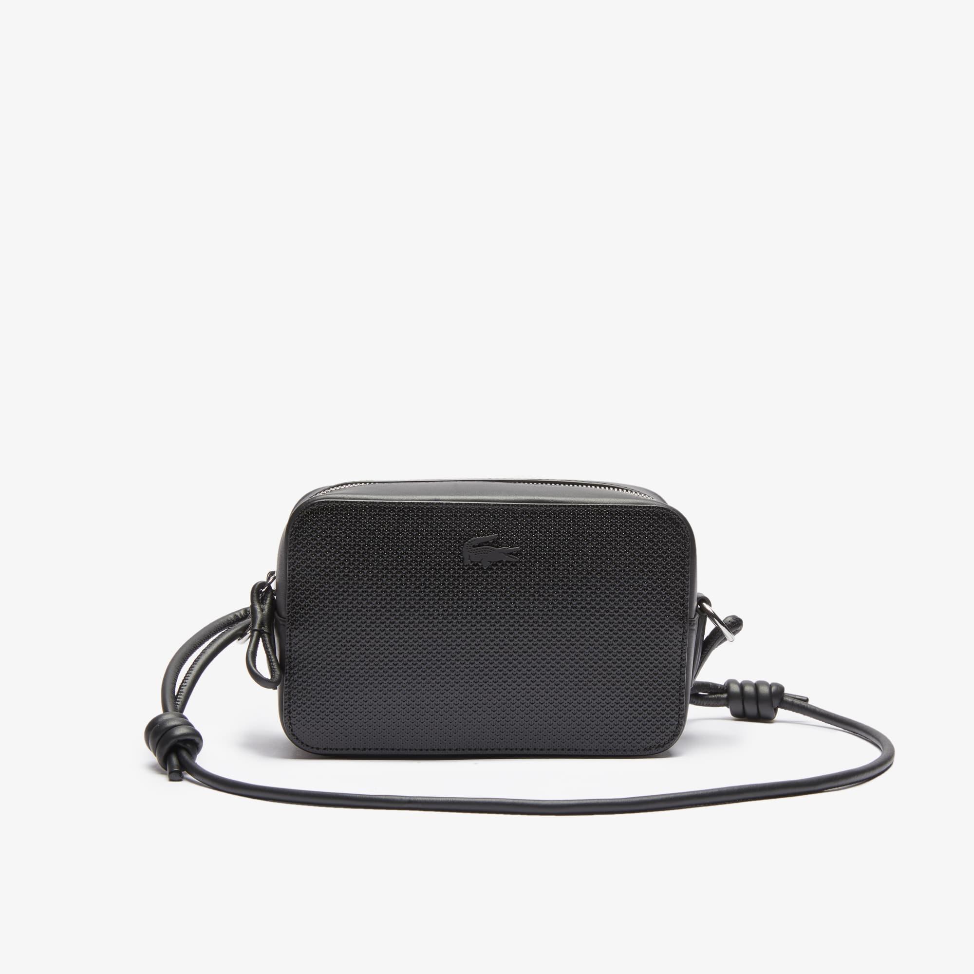 라코스테 Lacoste Womens Chantaco Matte Pique Leather Shoulder Bag