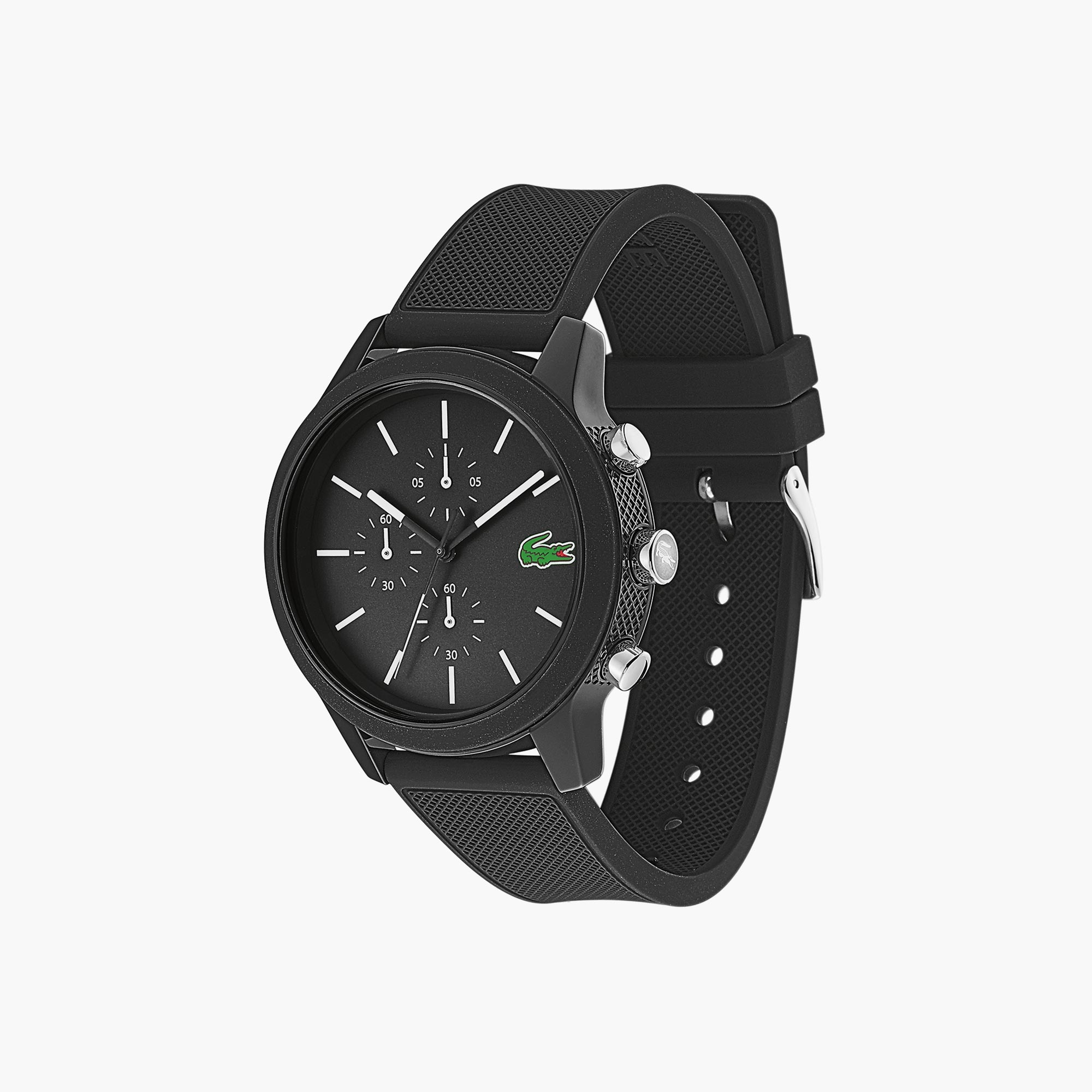 라코스테 크로노그래프 시계 Mens Lacoste 12.12 Chronograph Watch with Black Silicone Strap,Black