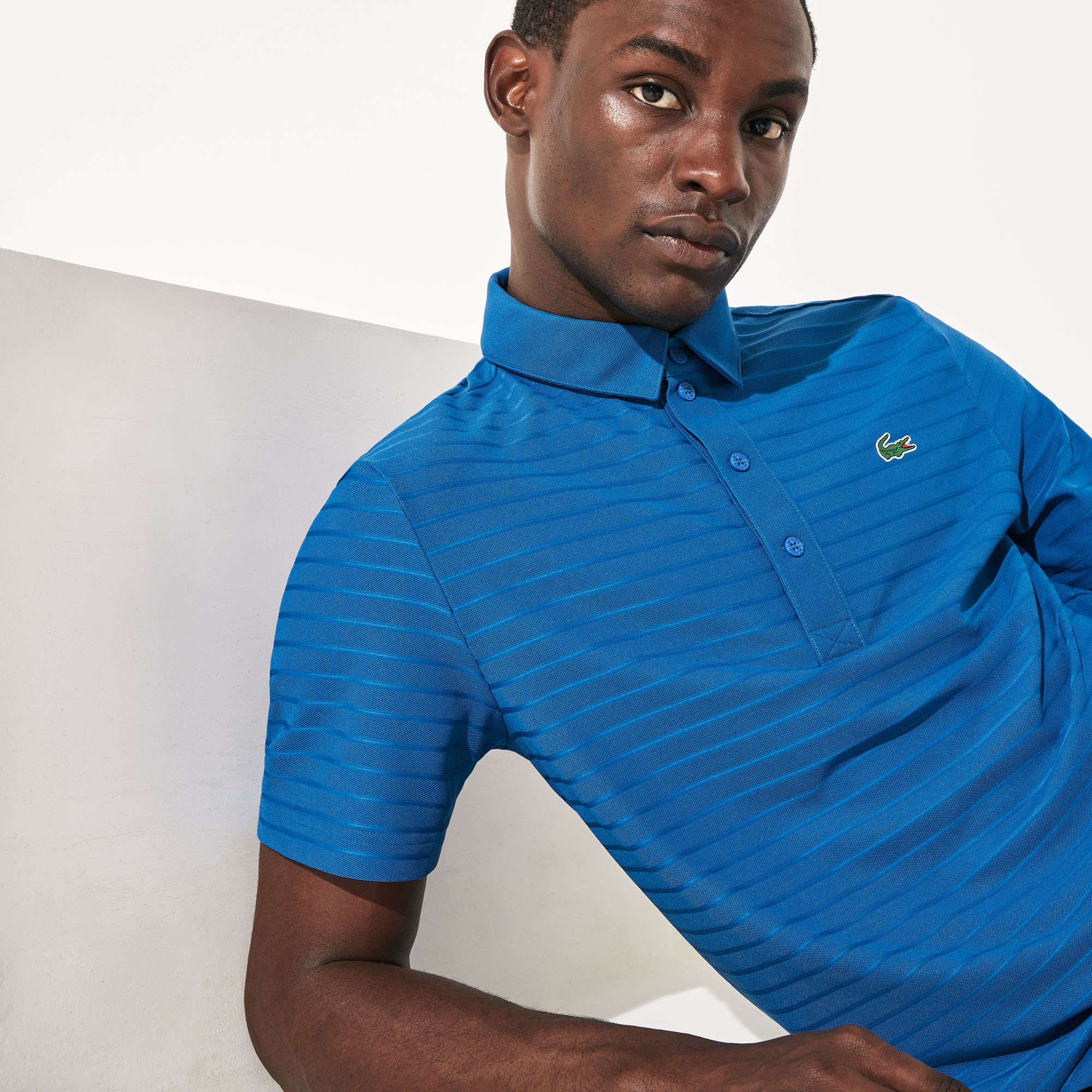 라코스테 Lacoste Mens SPORT Textured Breathable Golf Polo Shirt,Blue - US5
