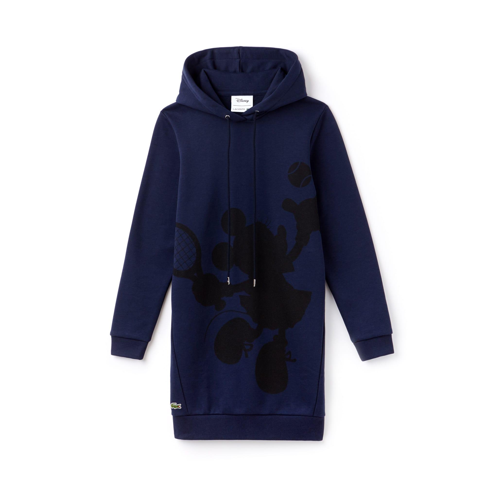 라코스테 Lacoste Womens Hooded 샵디즈니 Disney Minnie Print Fleece Sweatshirt Dress,navy blue