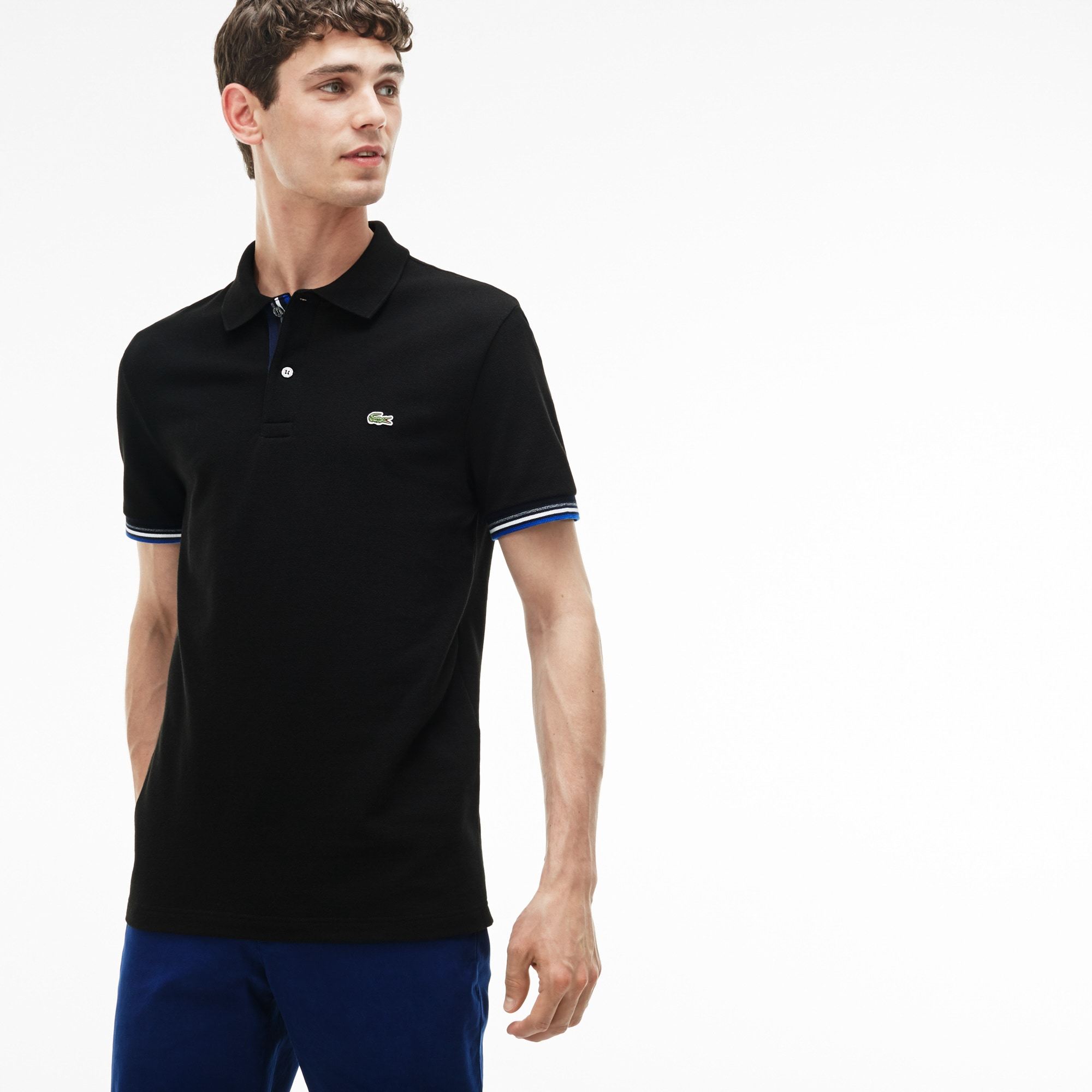 Men's Slim Fit Piped Two-Ply Cotton Petit Piqué Polo