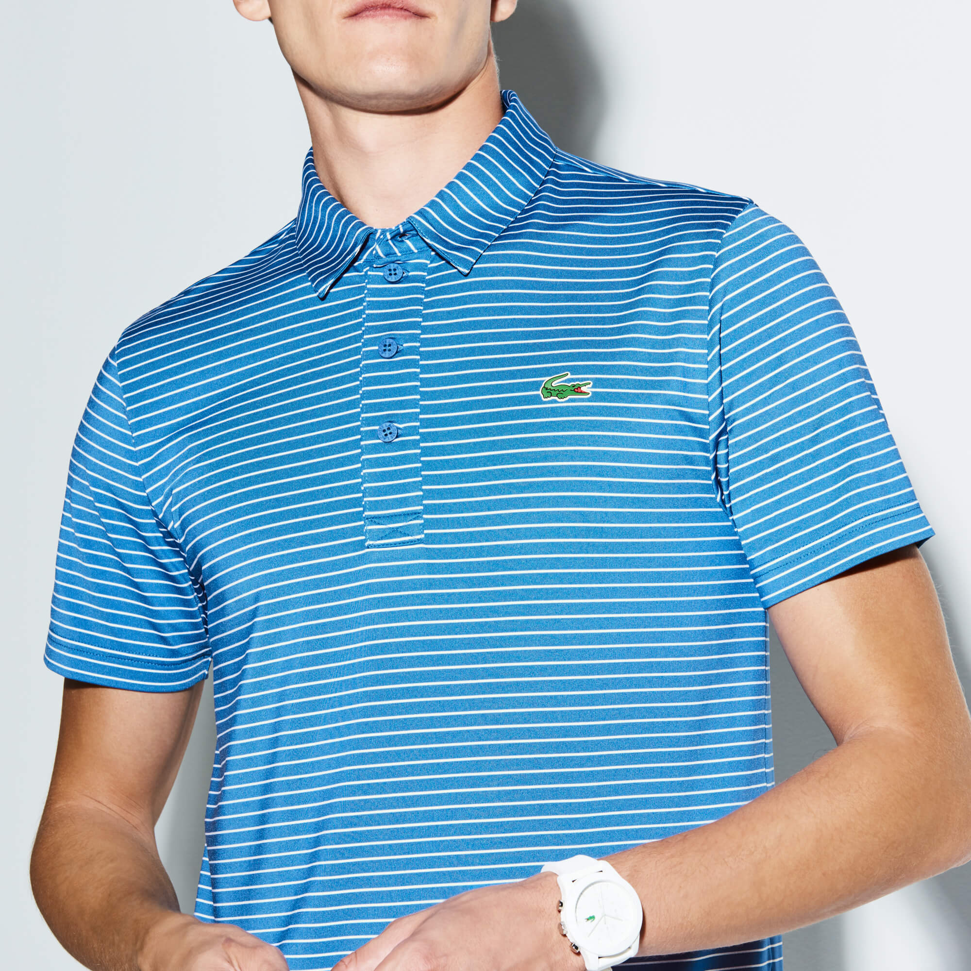 Men's SPORT Striped Stretch Technical Jersey Golf Polo
