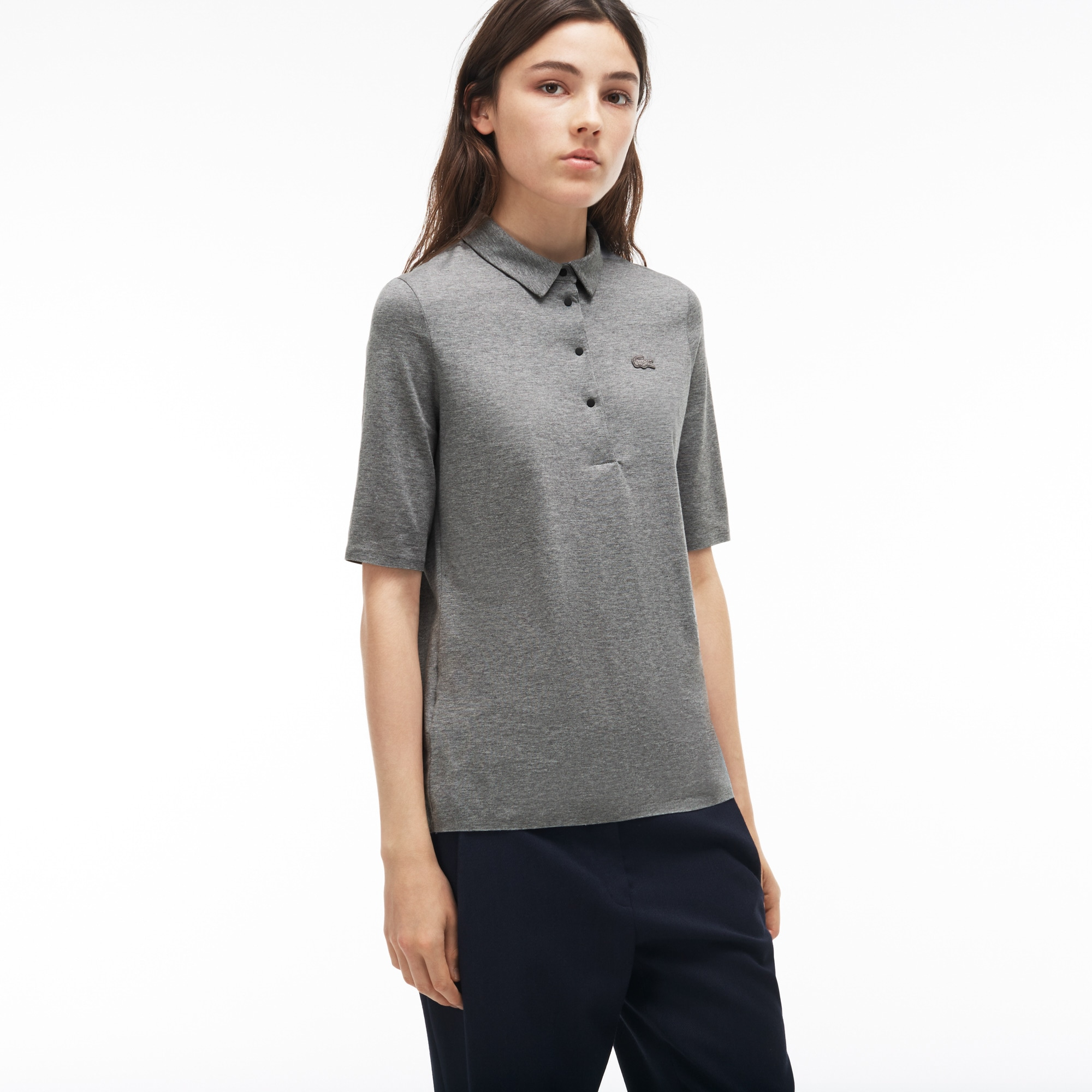 Women's  Pleated Back Cotton Jersey Polo