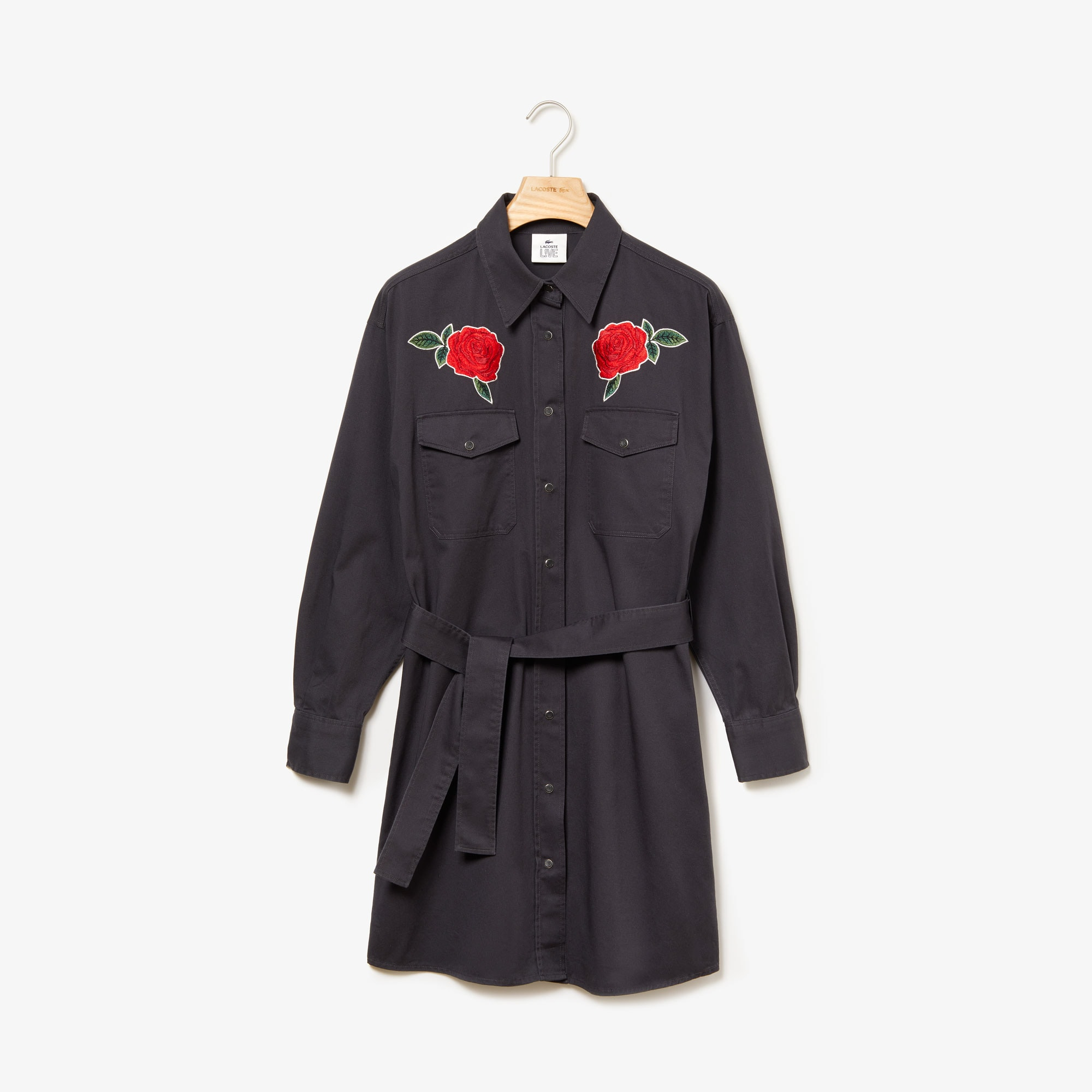Women's LIVE Rose-Embroidered Cotton Shirtdress