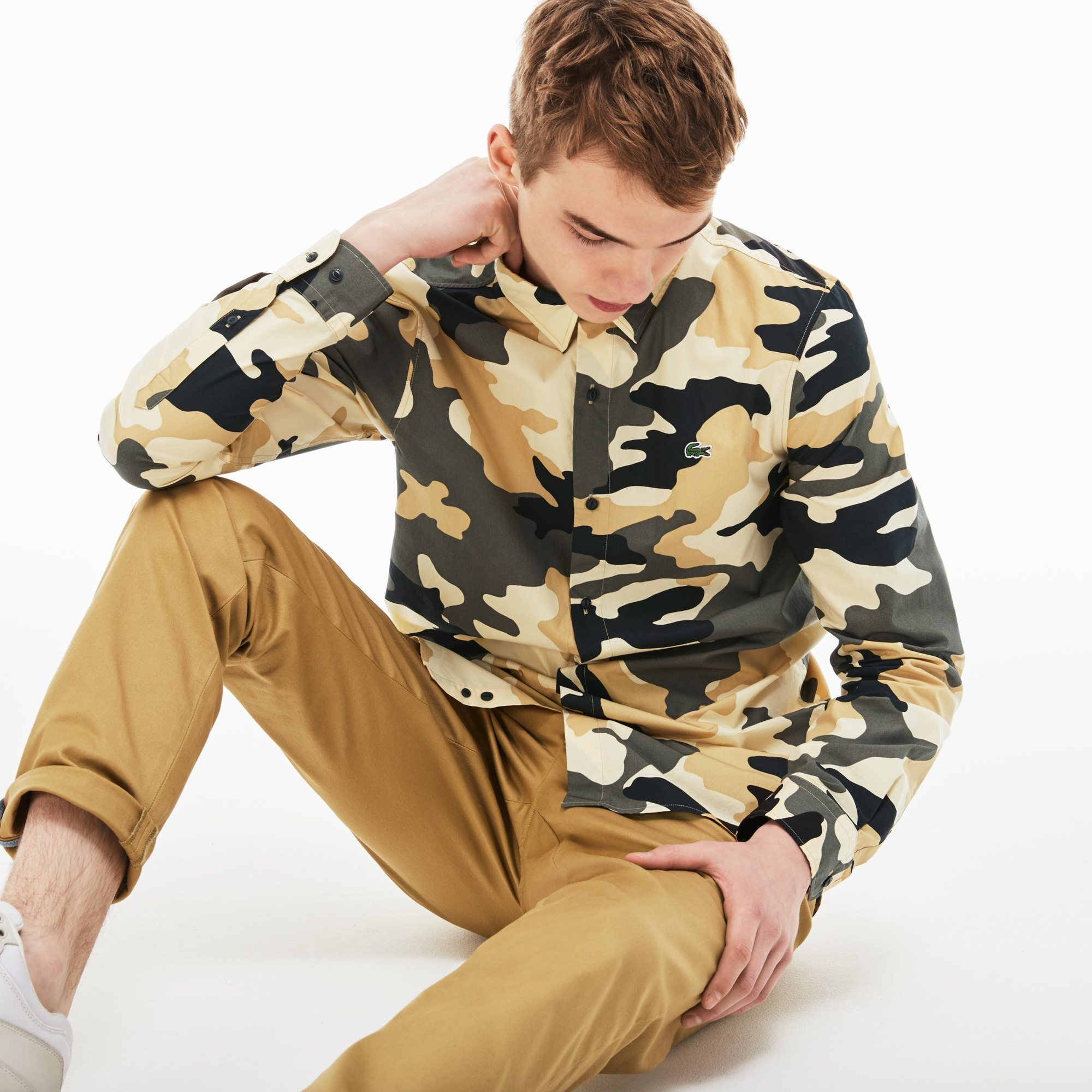 Men's LIVE Slim Fit Camouflage Print Poplin Shirt