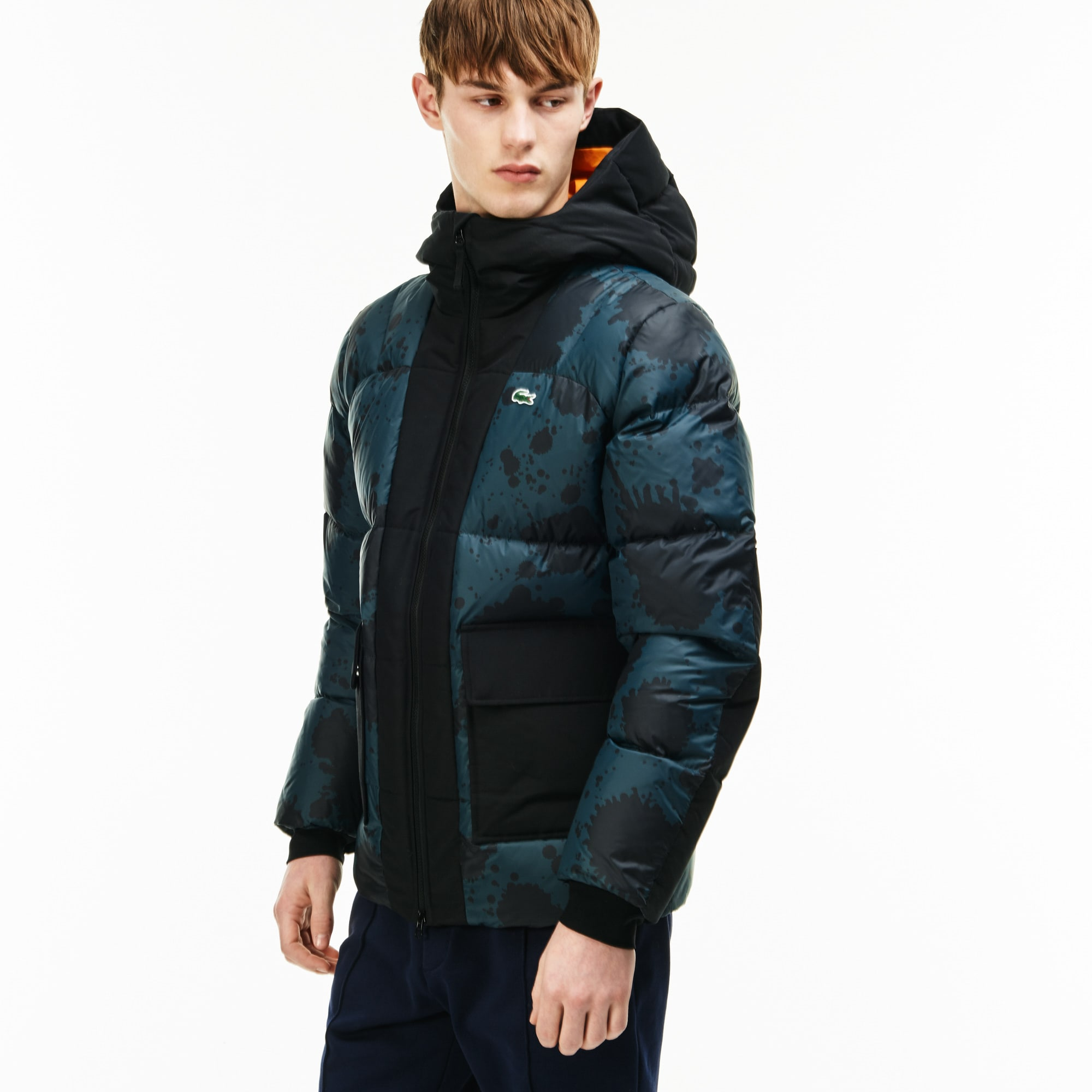 Men's Lacoste LIVE Hooded Colorblock Quilted Jacket