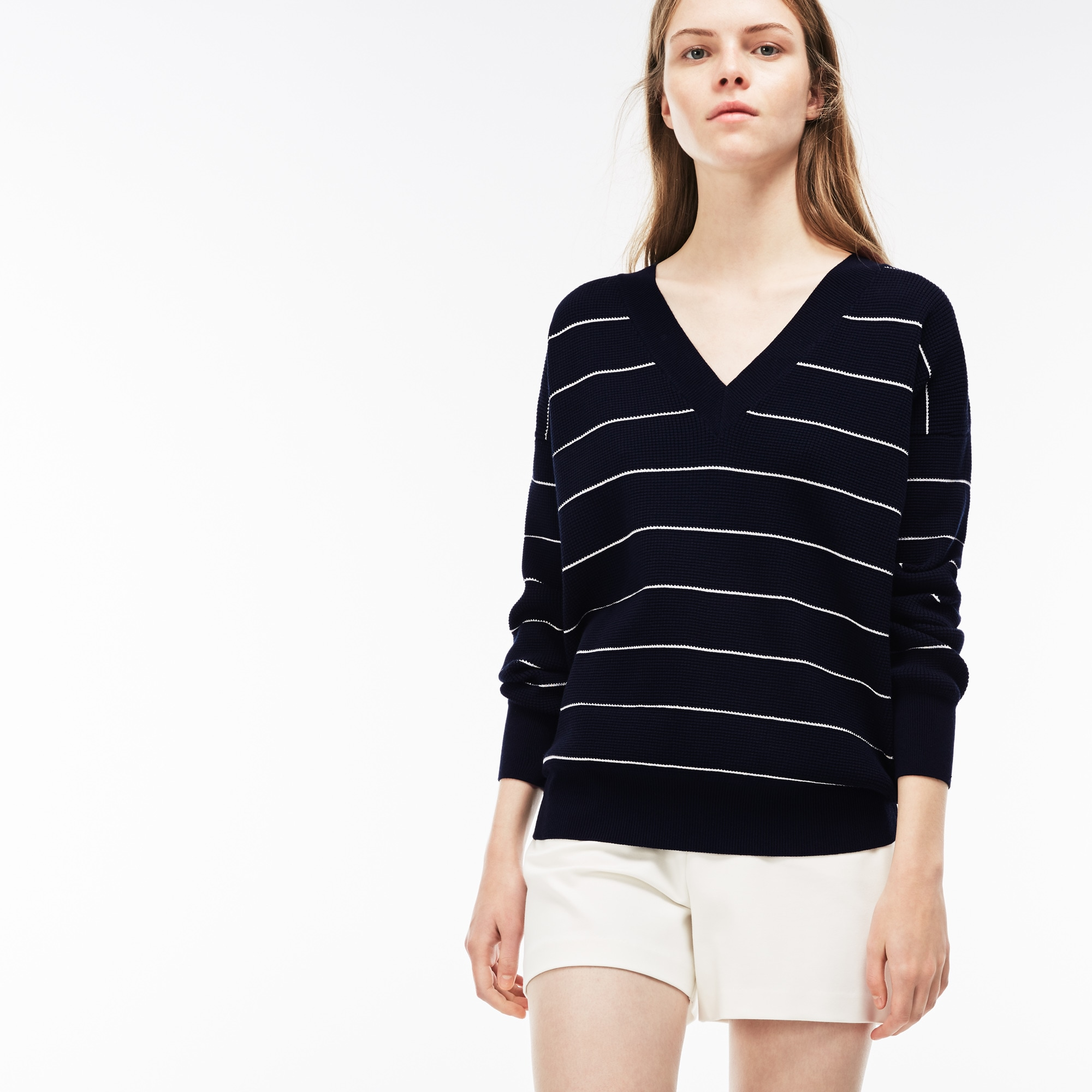 Women's V-neck Striped Honeycomb Knit Sweater