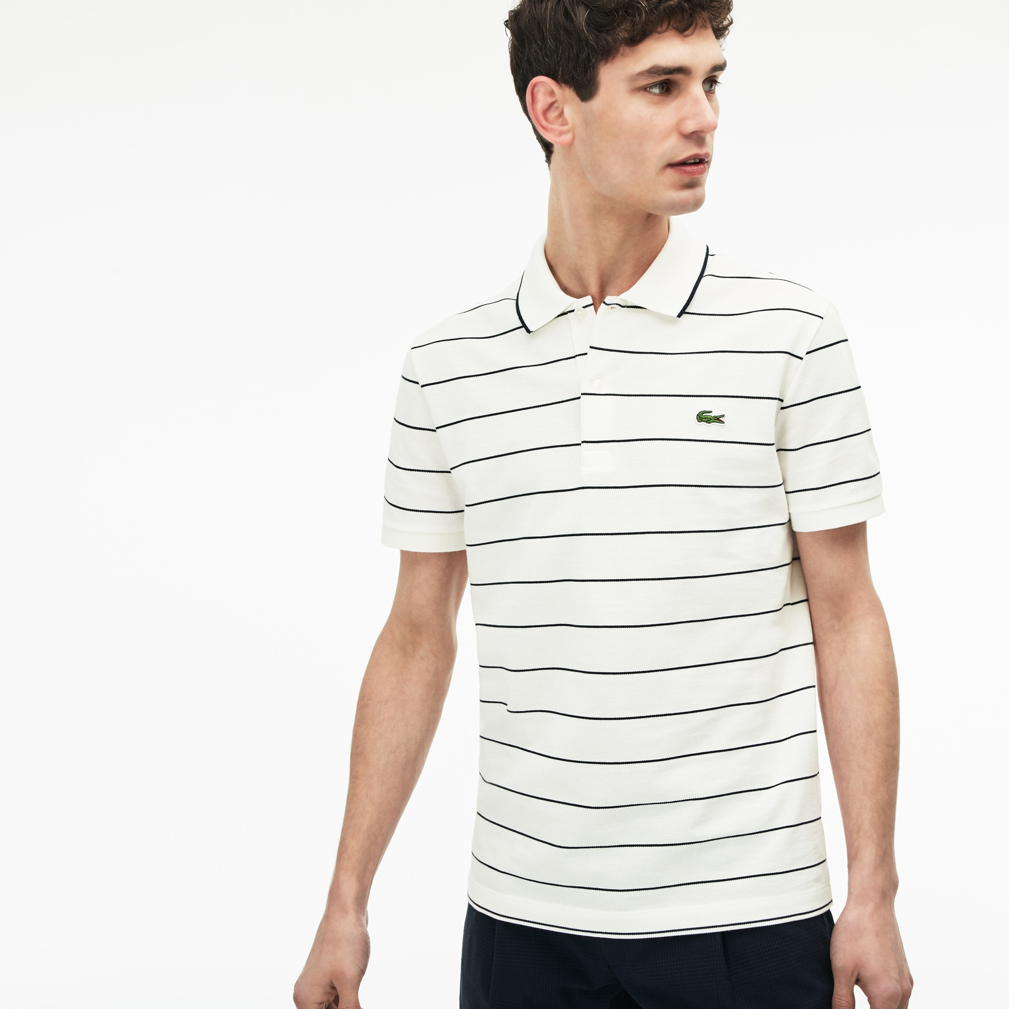 Men's Slim Fit Piped Striped Knit Polo