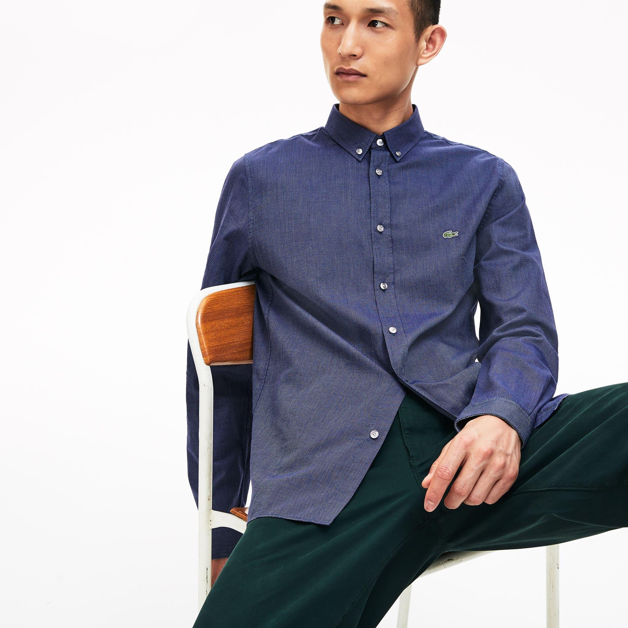 Lacoste Tops Men's Slim Fit Polka Dot Cotton Poplin Shirt