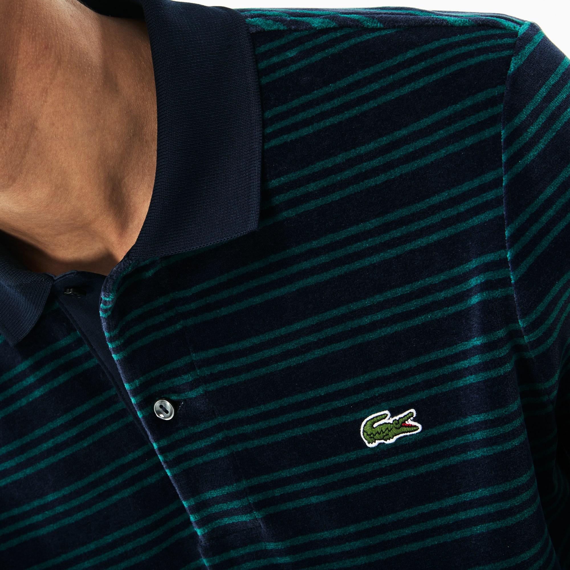0dc71637 Men's Boxy Fit Striped Velour Polo