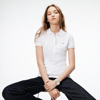 라코스테 우먼 폴로 셔츠, 스트레치 미니 코튼 피케 (슬림핏) - 화이트 Lacoste Womens Slim Fit Stretch Mini Cotton Pique Polo Shirt