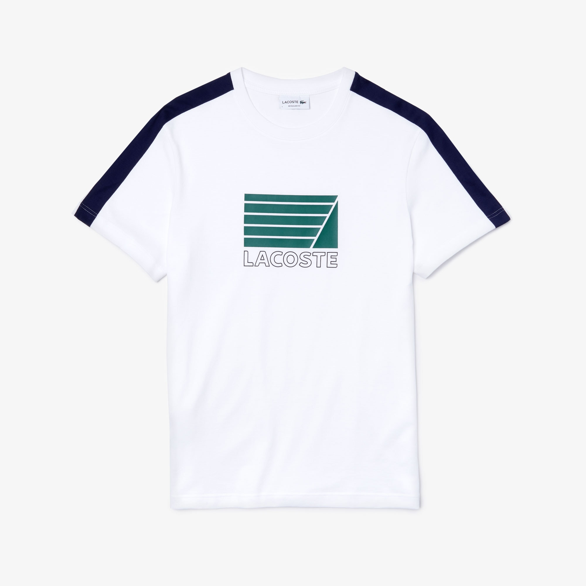 라코스테 반팔티 크루넥 코튼 티셔츠 Lacoste Mens Crew Neck Cotton T-shirt,White / Navy Blue