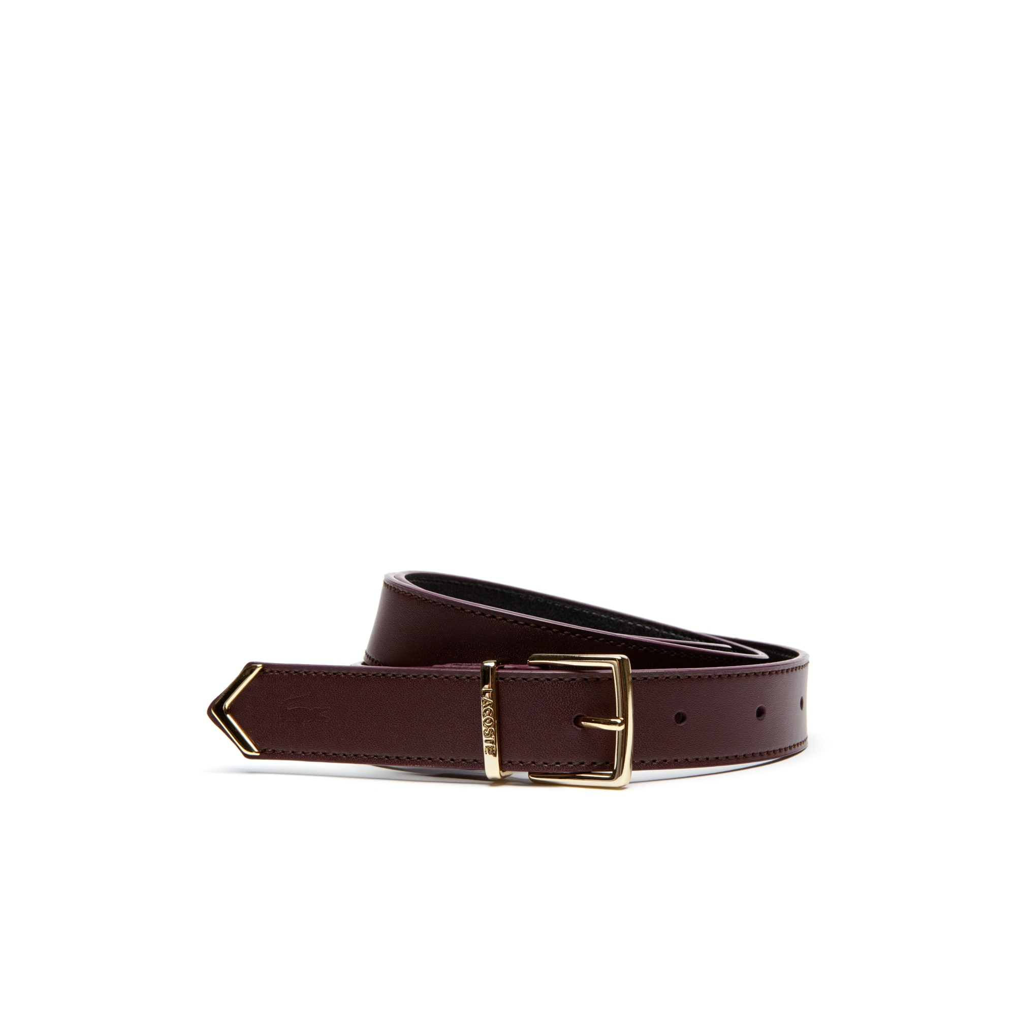 Women's Smooth Leather Belt With Lacoste Engraved Loop
