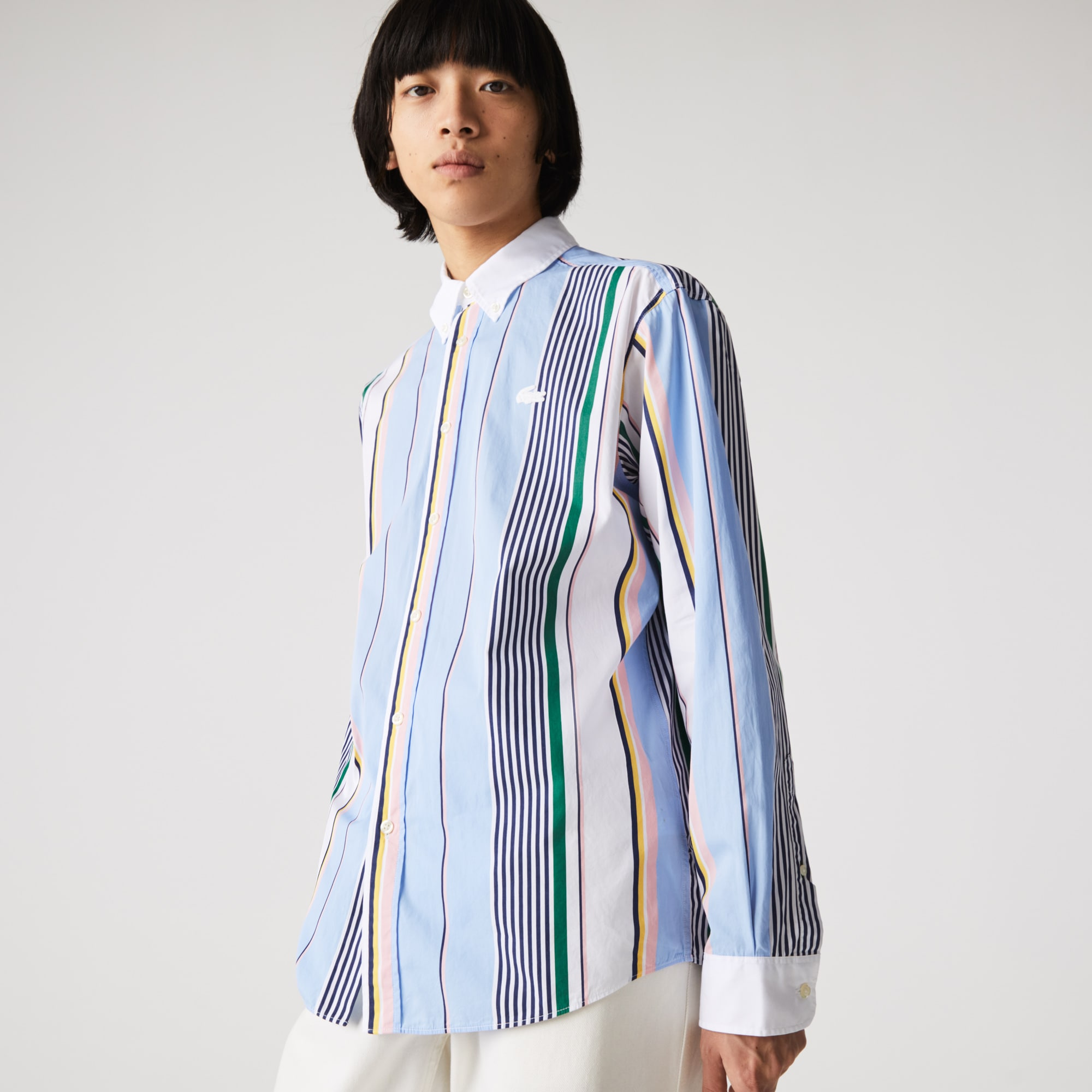 Men's 라코스테 Lacoste LIVE Relaxed Fit Striped Cotton Shirt,Blue / White WG8