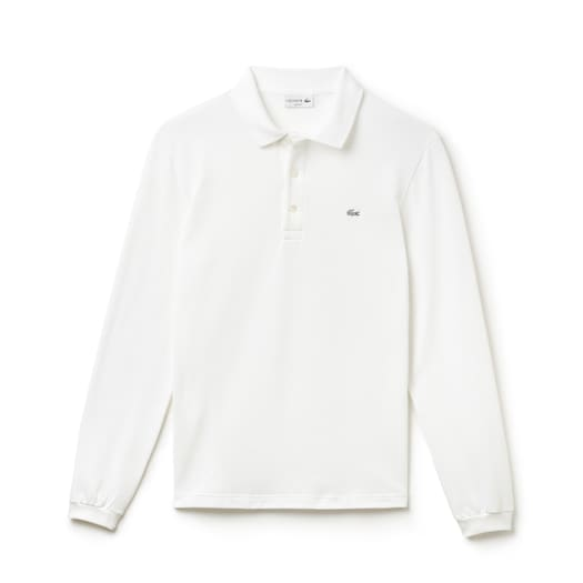 라코스테 Lacoste Mens Slim Fit Stretch Mini Pique Polo Shirt,White - 001 (Selected colour)