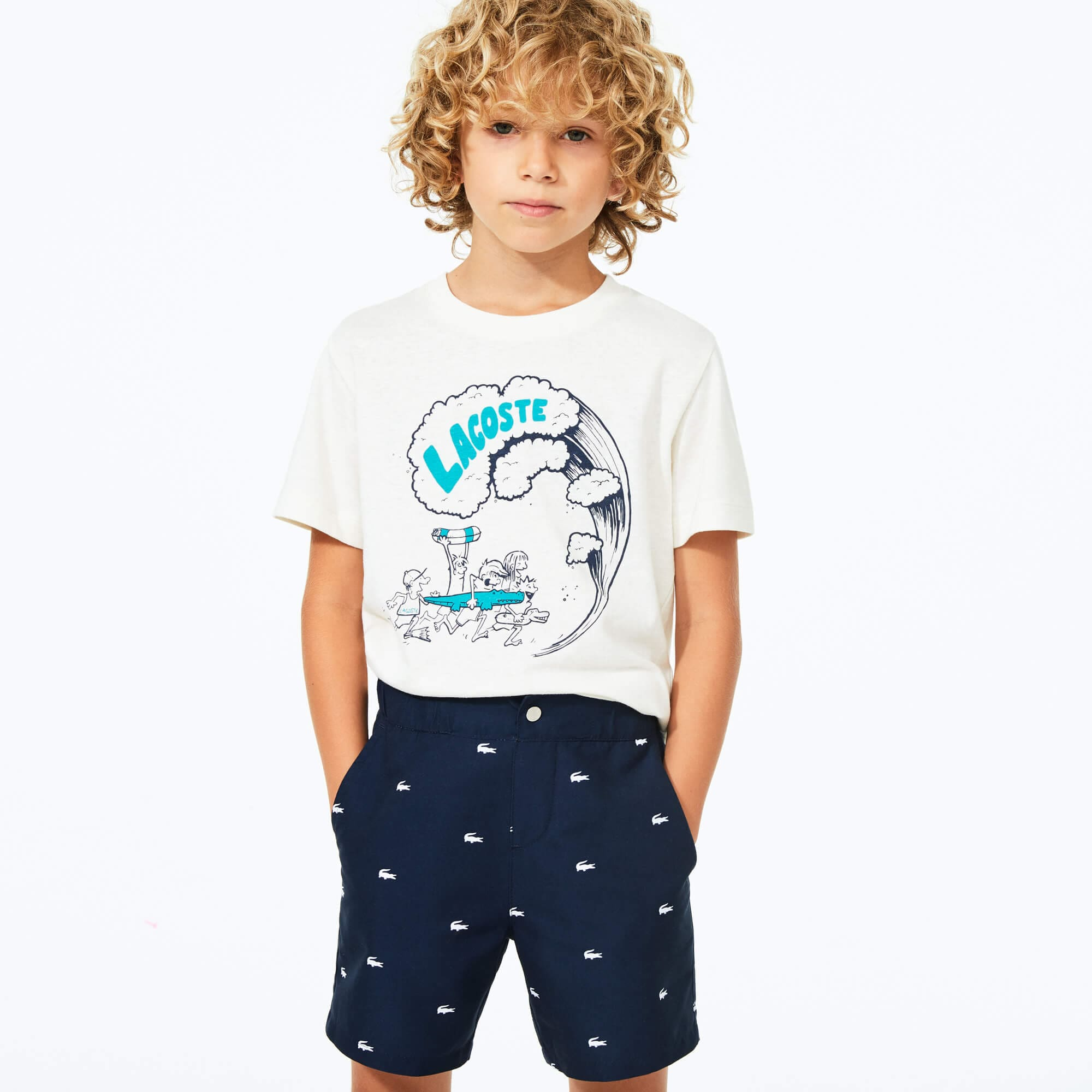라코스테 Lacoste Boys' All-Over Croc Swim Trunks,Navy Blue / White • 525