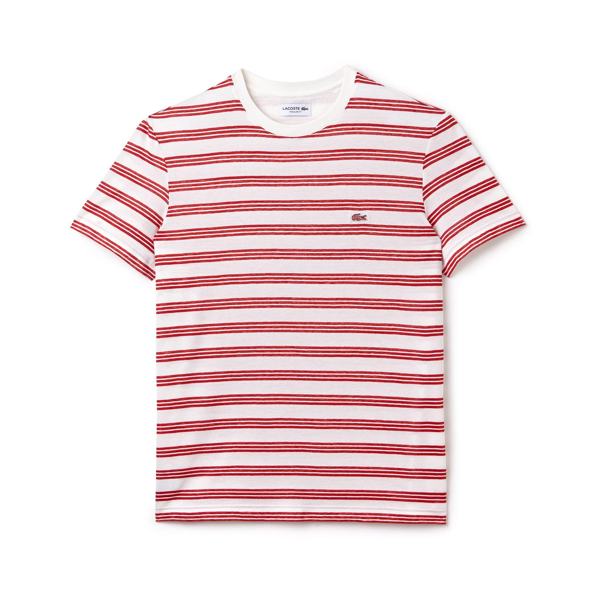 Men's Crew Neck Linen Jersey Striped Cotton T-Shirt
