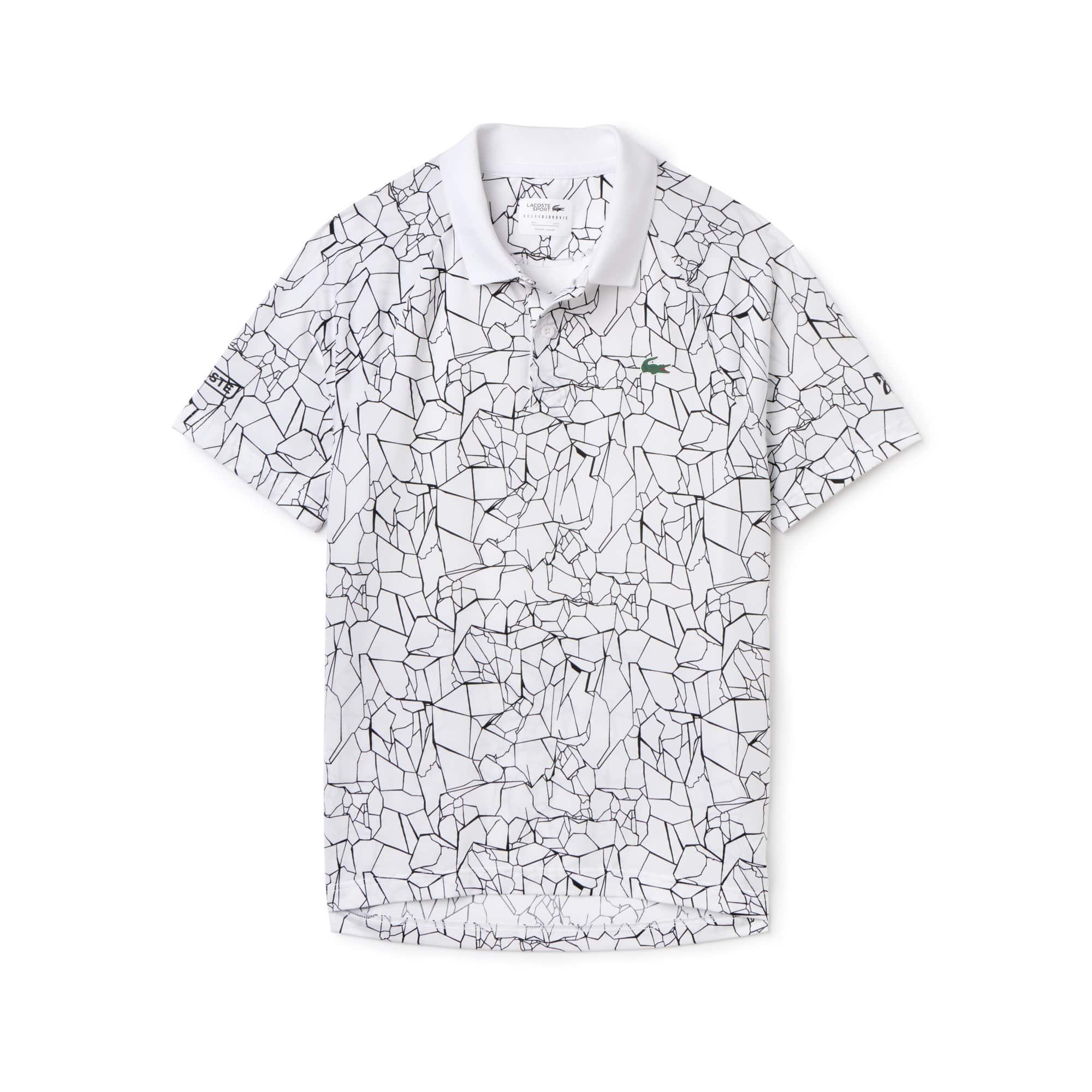 라코스테 스포츠 반팔 카라티 Lacoste Mens SPORT Print Technical Jersey Polo - x Novak Djokovic On Court Premium Edition,white/black