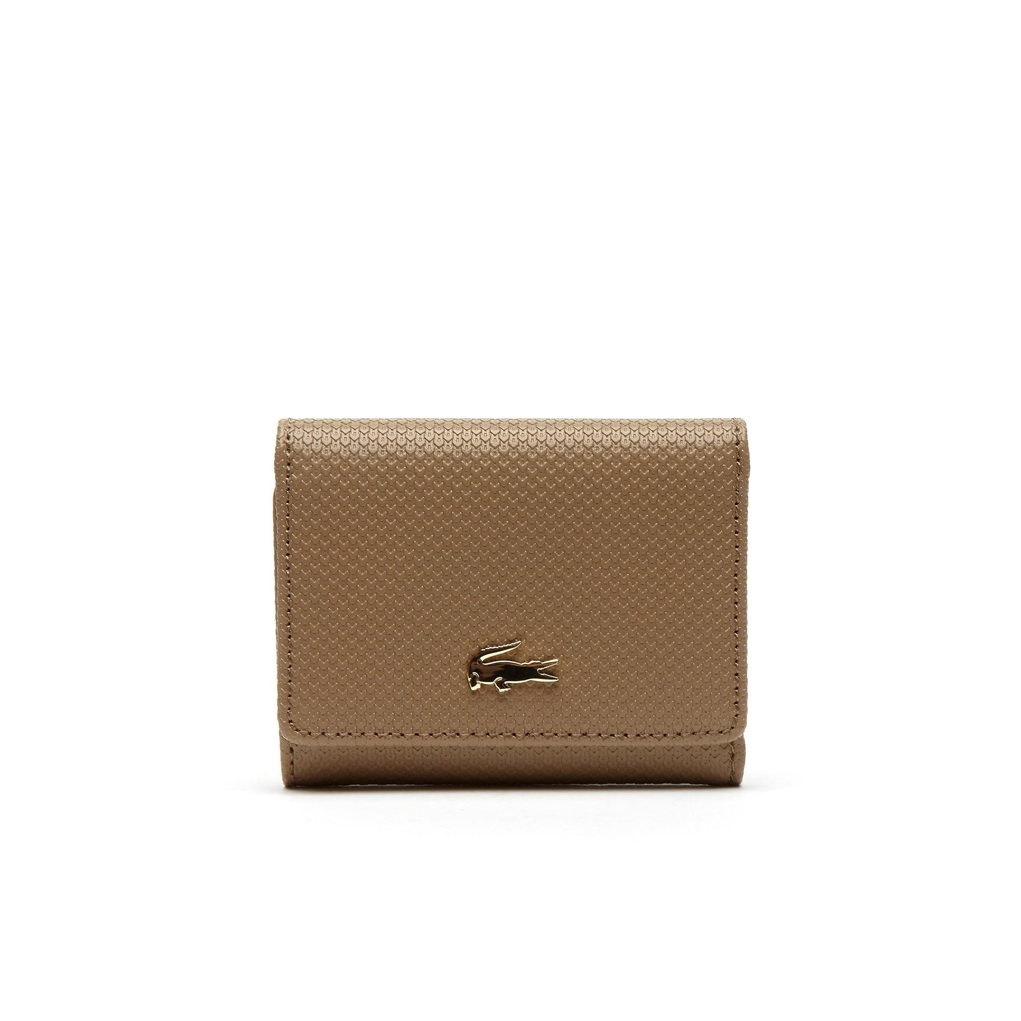 라코스테 지갑 Lacoste Womens Chantaco Pique Leather Six Card Wallet,amphora