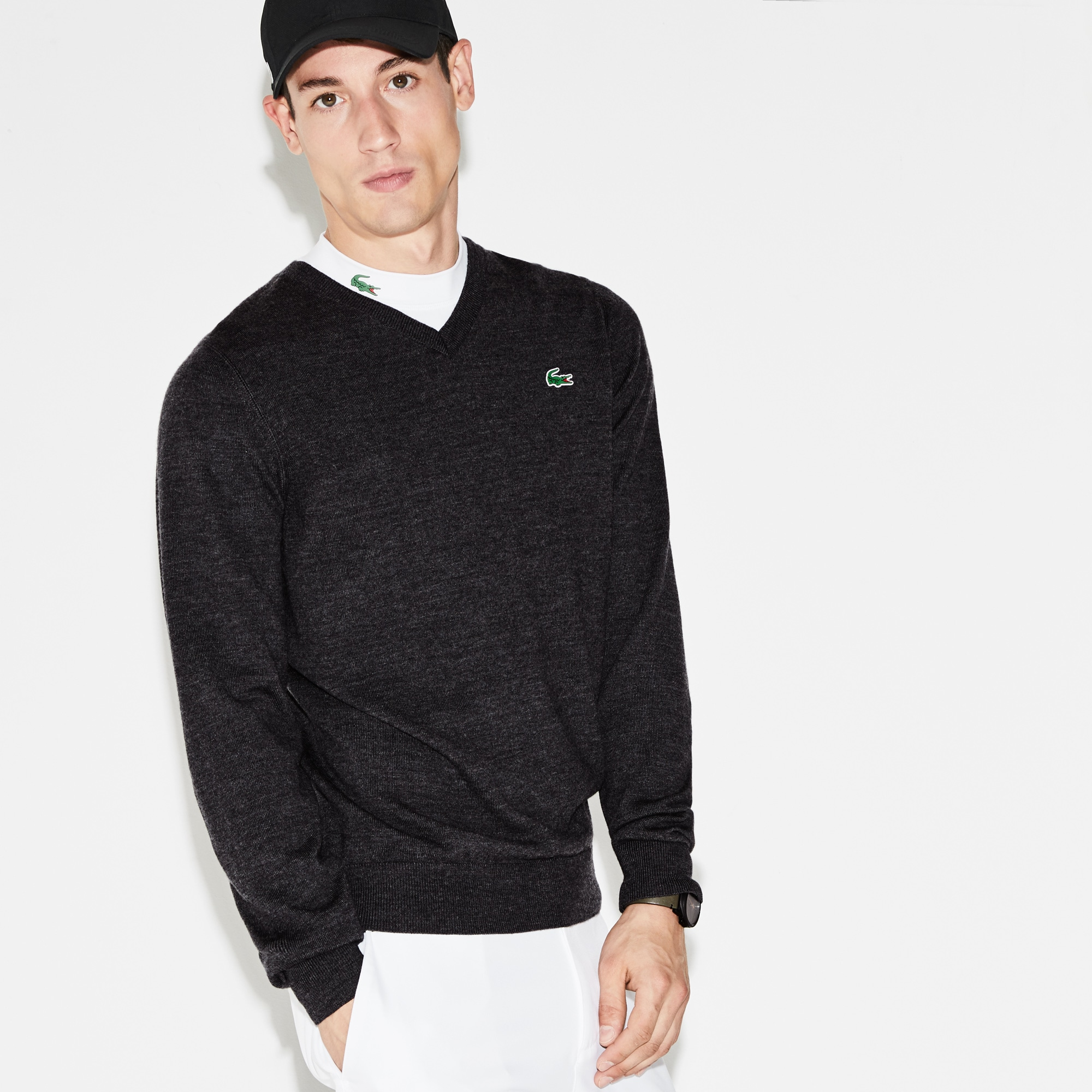 Men's SPORT V-Neck Wool Jersey Golf Sweater