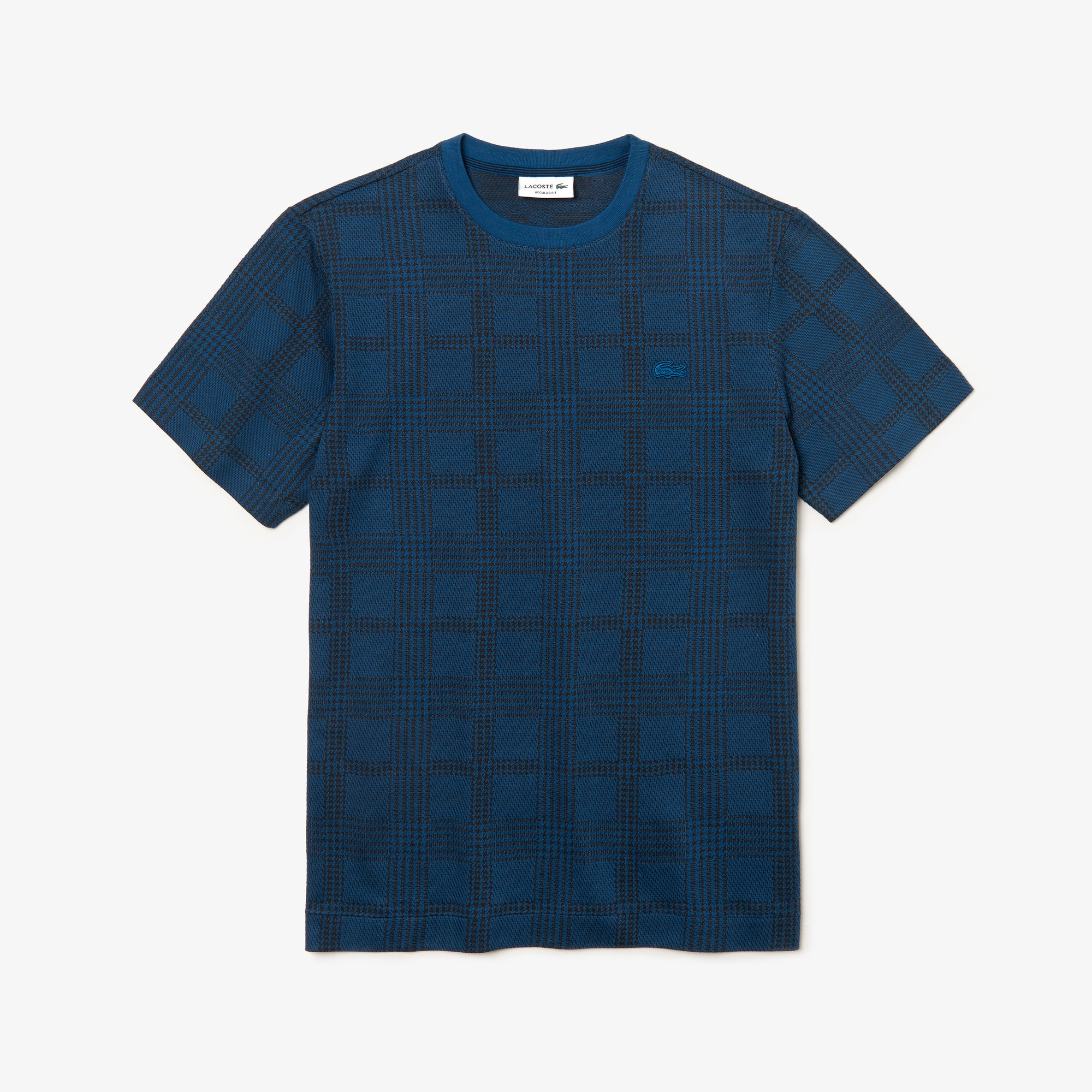 Men's Crew Neck Glen Plaid Cotton Jacquard T-shirt
