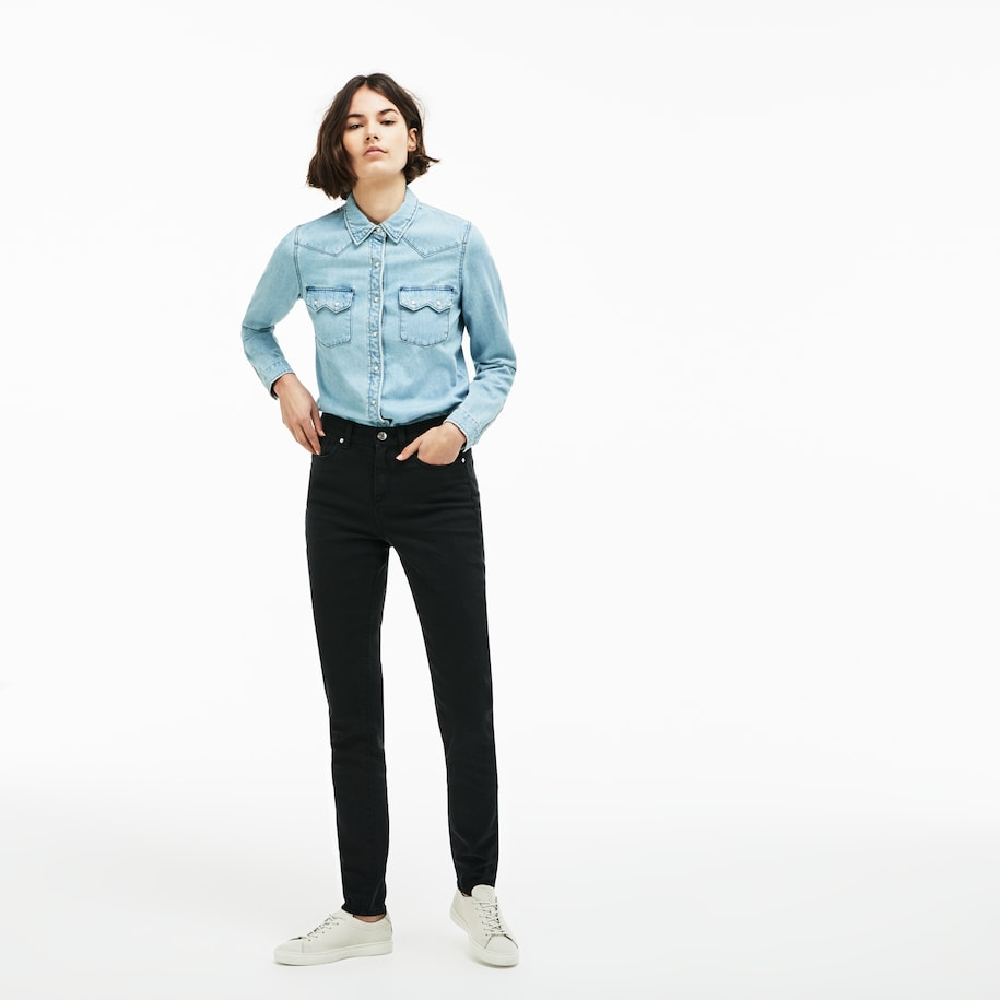 Women's Lacoste LIVE Five-Pocket Stretch Cotton Denim Jeans