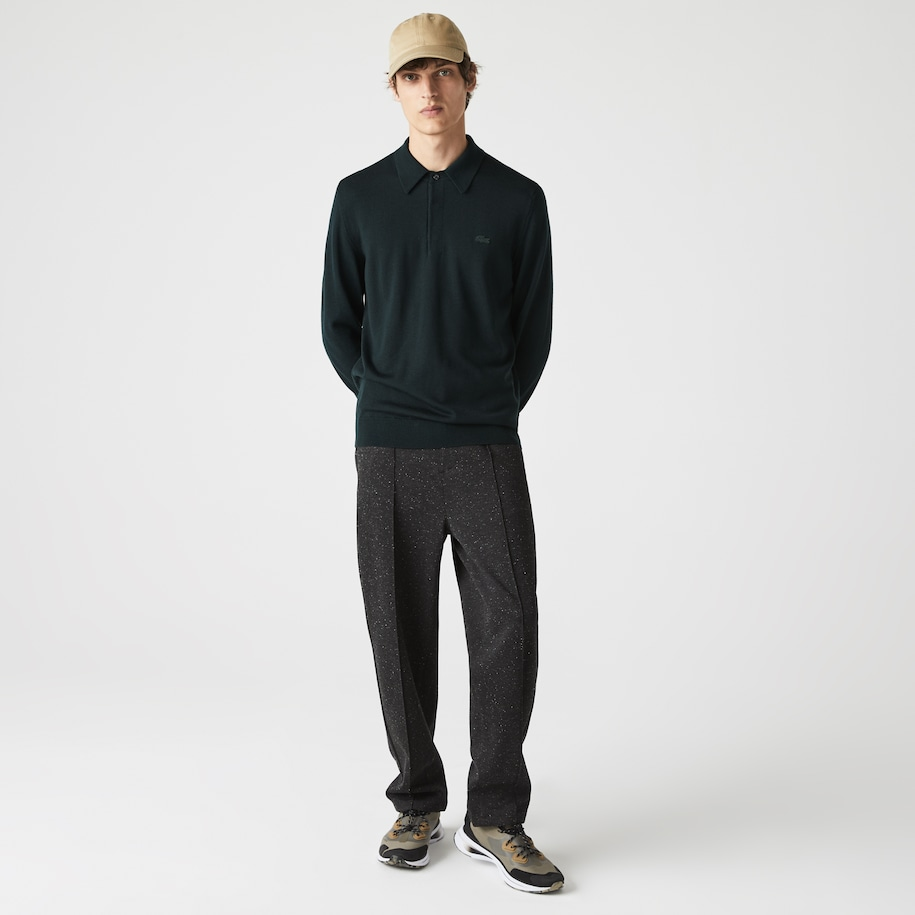 Men's Polo Collar Merino Wool Sweater
