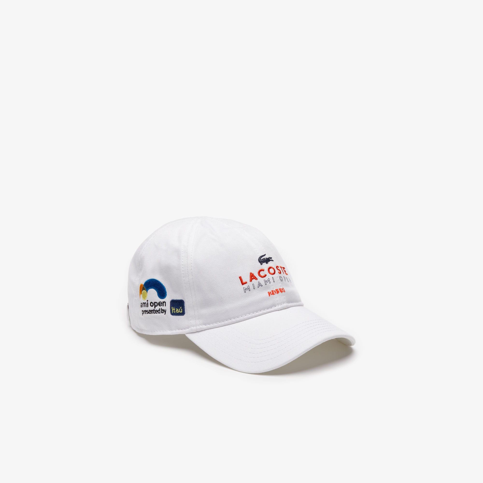 31231b7078b Lacoste Men's Sport Miami Open Edition Cap In White / Orange / Navy Blue