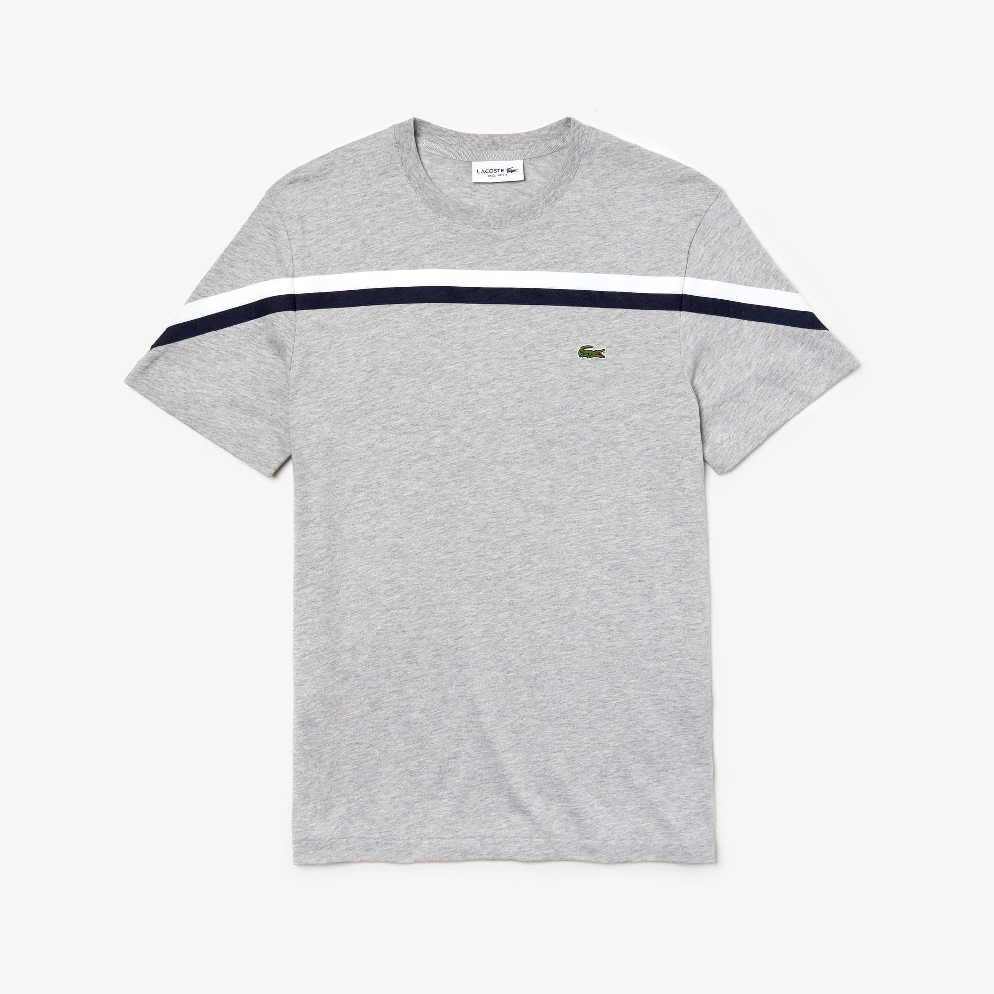 라코스테 크루넥 코튼 티셔츠 Lacoste Mens Crew Neck Cotton T-shirt,Grey Chine