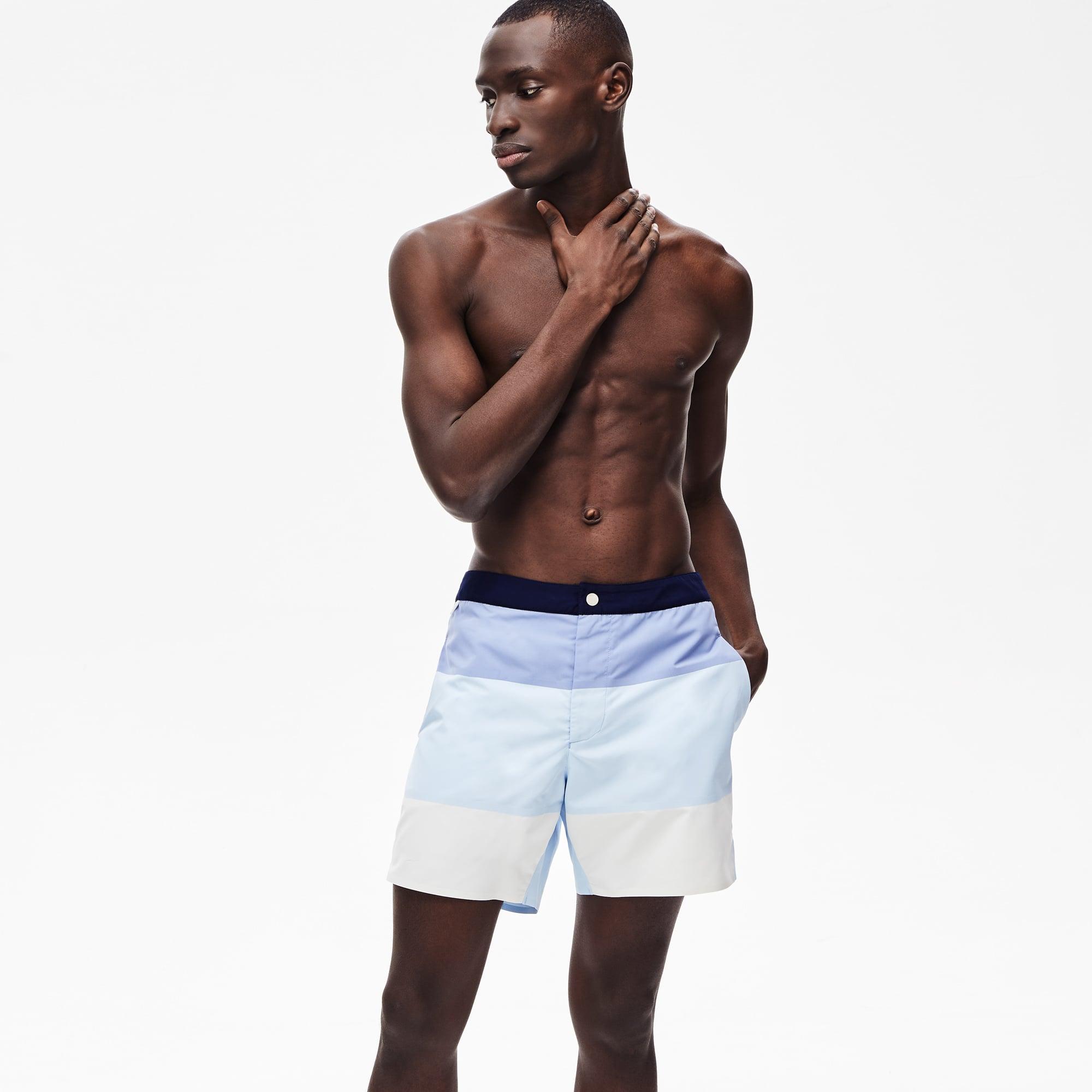 라코스테 스윔팬츠  Lacoste Mens Striped Colorblock Quick-Dry Swim Shorts