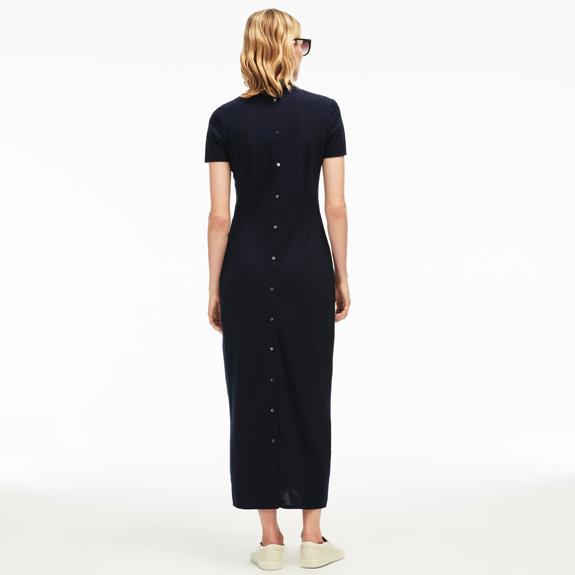 Womenu0026#39;s Buttoned Heavy Piquu00e9 Long Polo Dress | LACOSTE