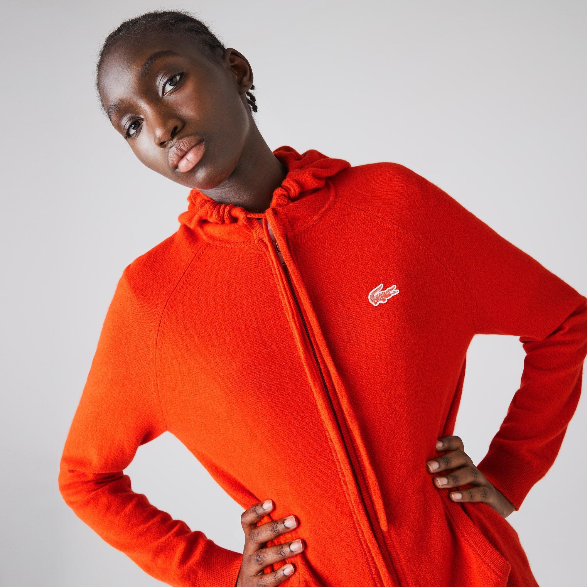 Womens Lacoste SPORT Recycled Cashmere Zip Sweater