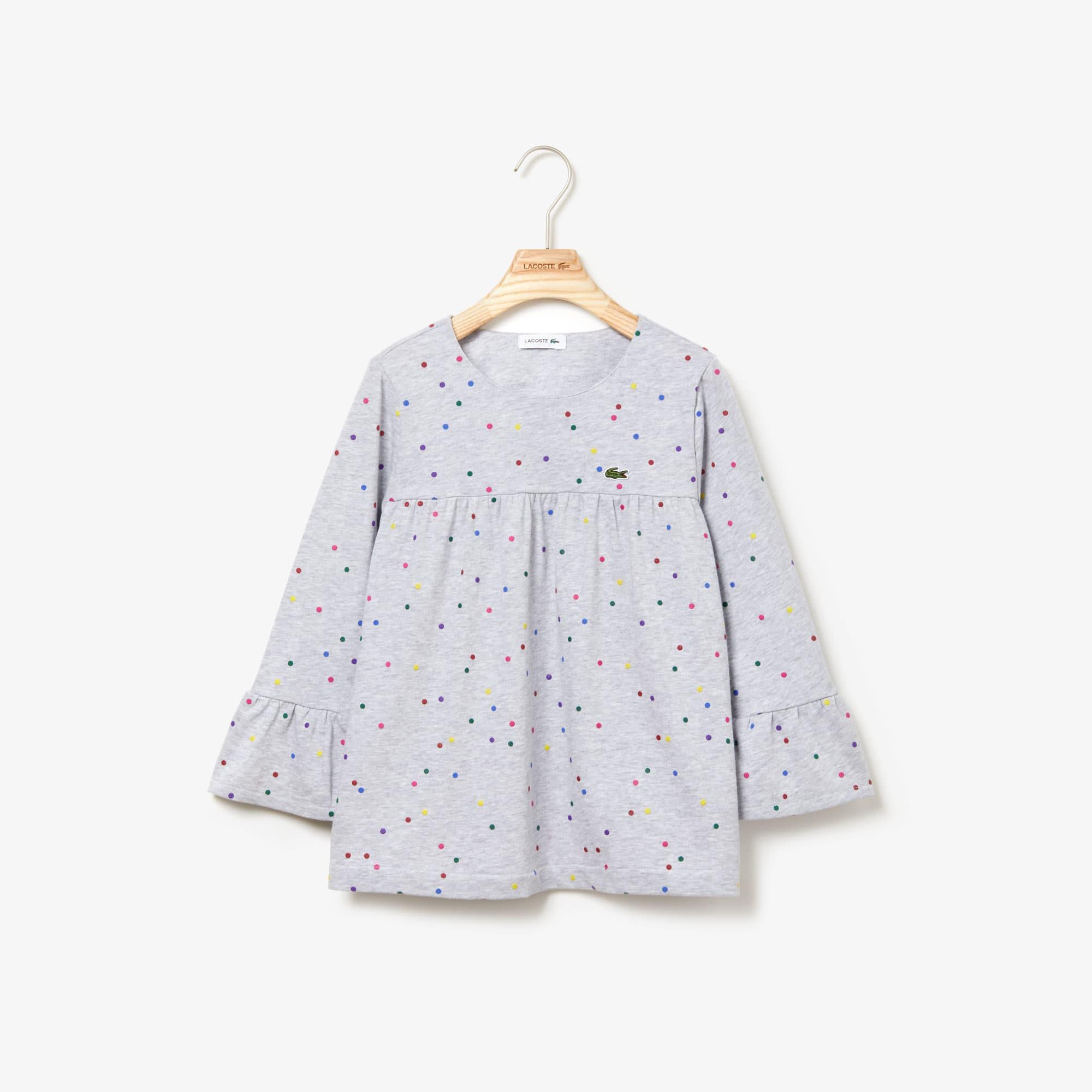 라코스테 Lacoste Girls Flounced Polka Dot Print Cotton T-shirt,Grey Chine / White • W9D