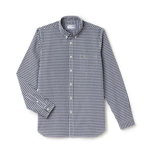 라코스테 Lacoste Mens Regular Fit Mini Check Poplin Shirt,Navy Blue / White - 525