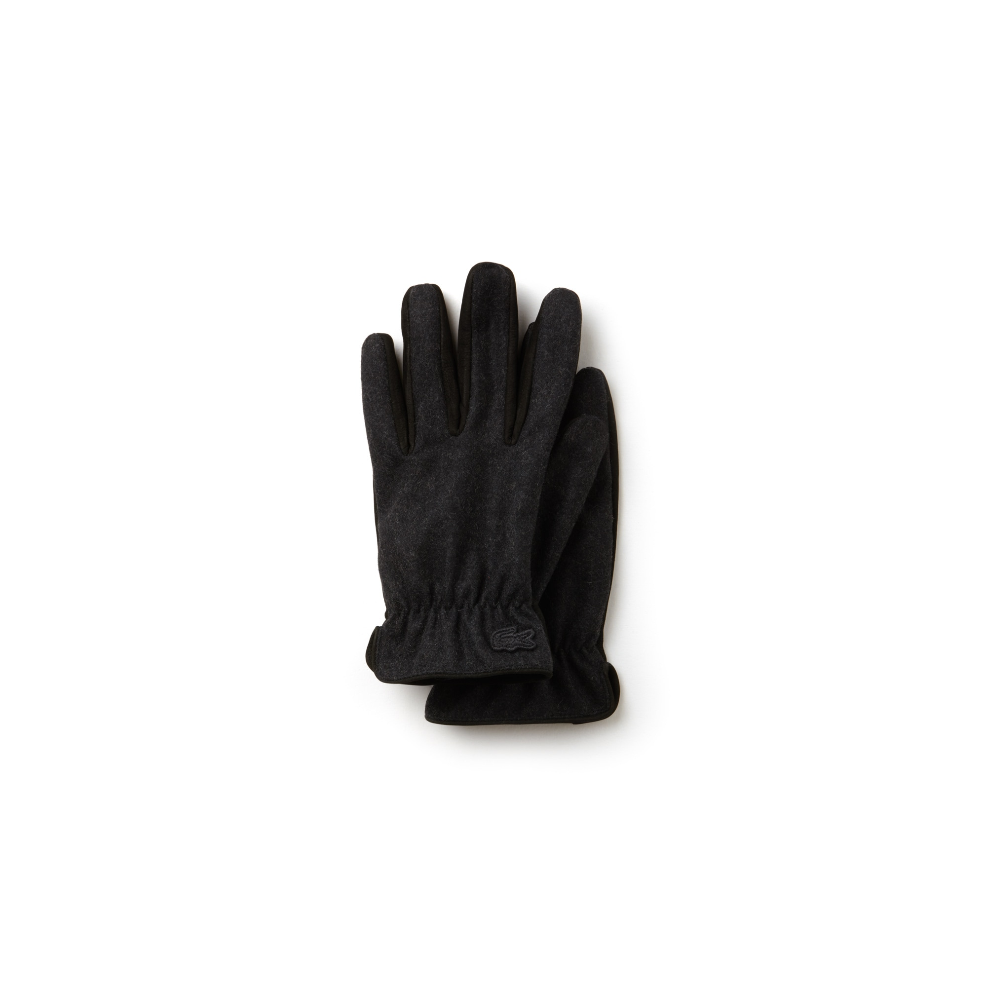 라코스테 볼캡 Lacoste Mens Bicolor Leather And Wool Gloves,BLACK/STONE GREY