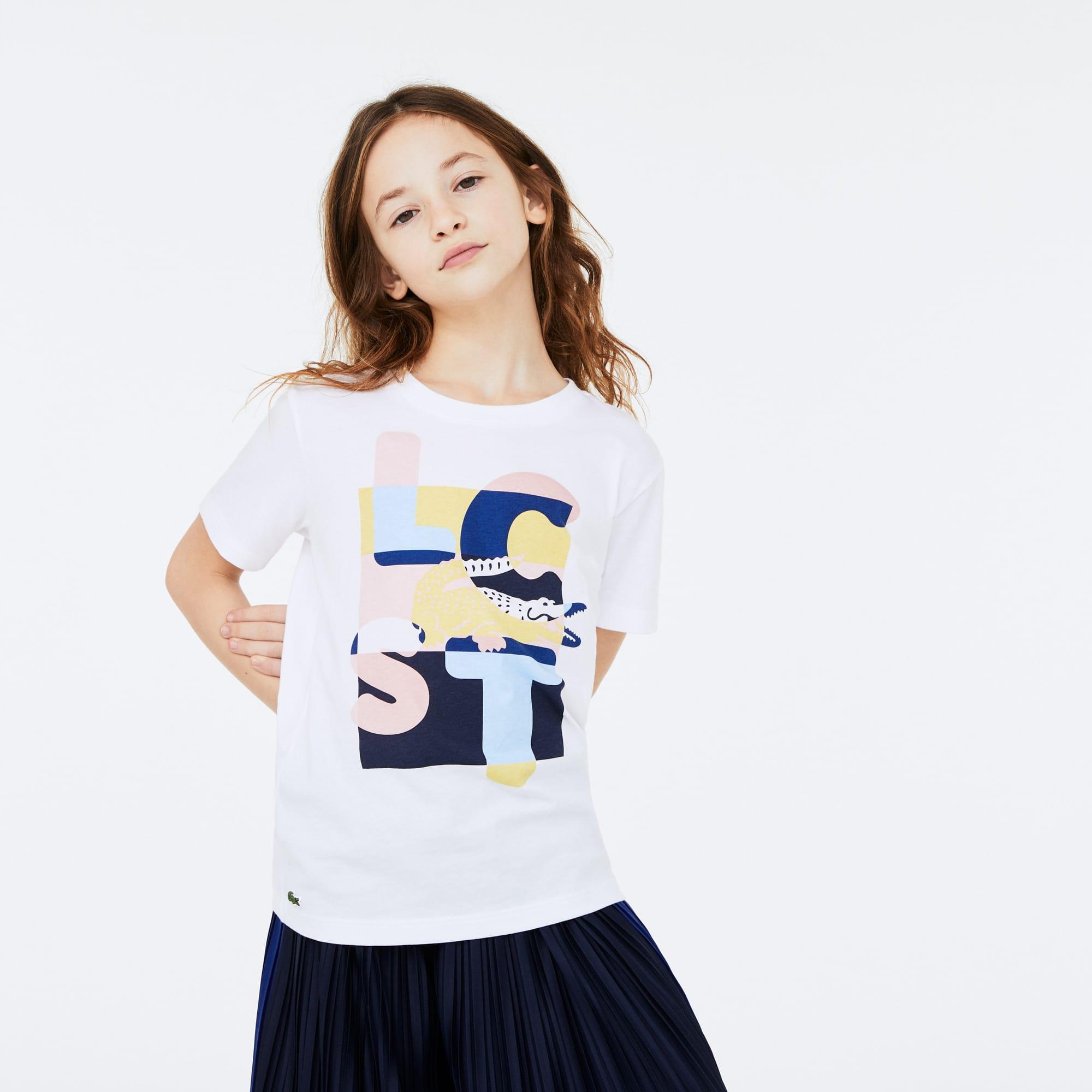 라코스테 Lacoste Girls Crew Neck Print Cotton T-shirt,White • SBH