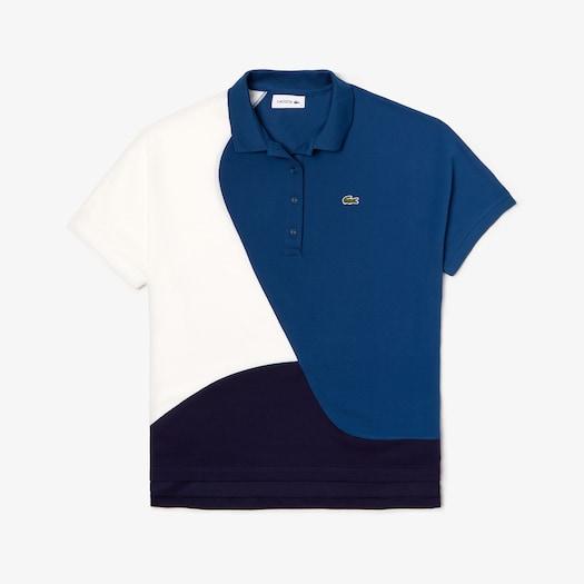 라코스테 우먼 폴로 셔츠 Lacoste Womens Color-Block Thermoregulating Pique Polo,Navy Blue / Blue / White
