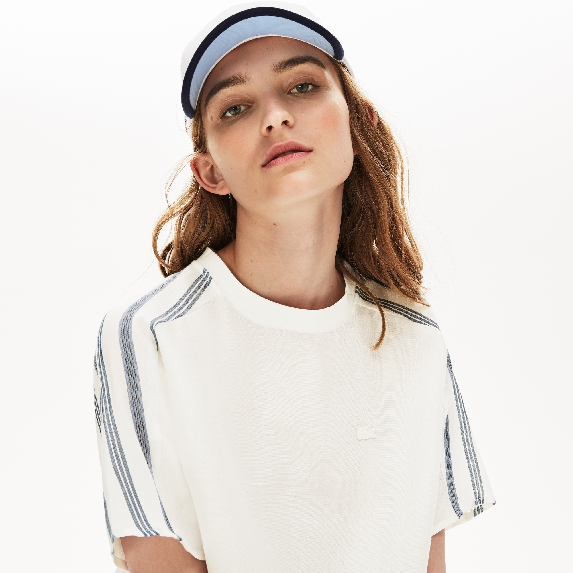 Lacoste Tops Women's Striped Panel Lightweight Canvas T-shirt